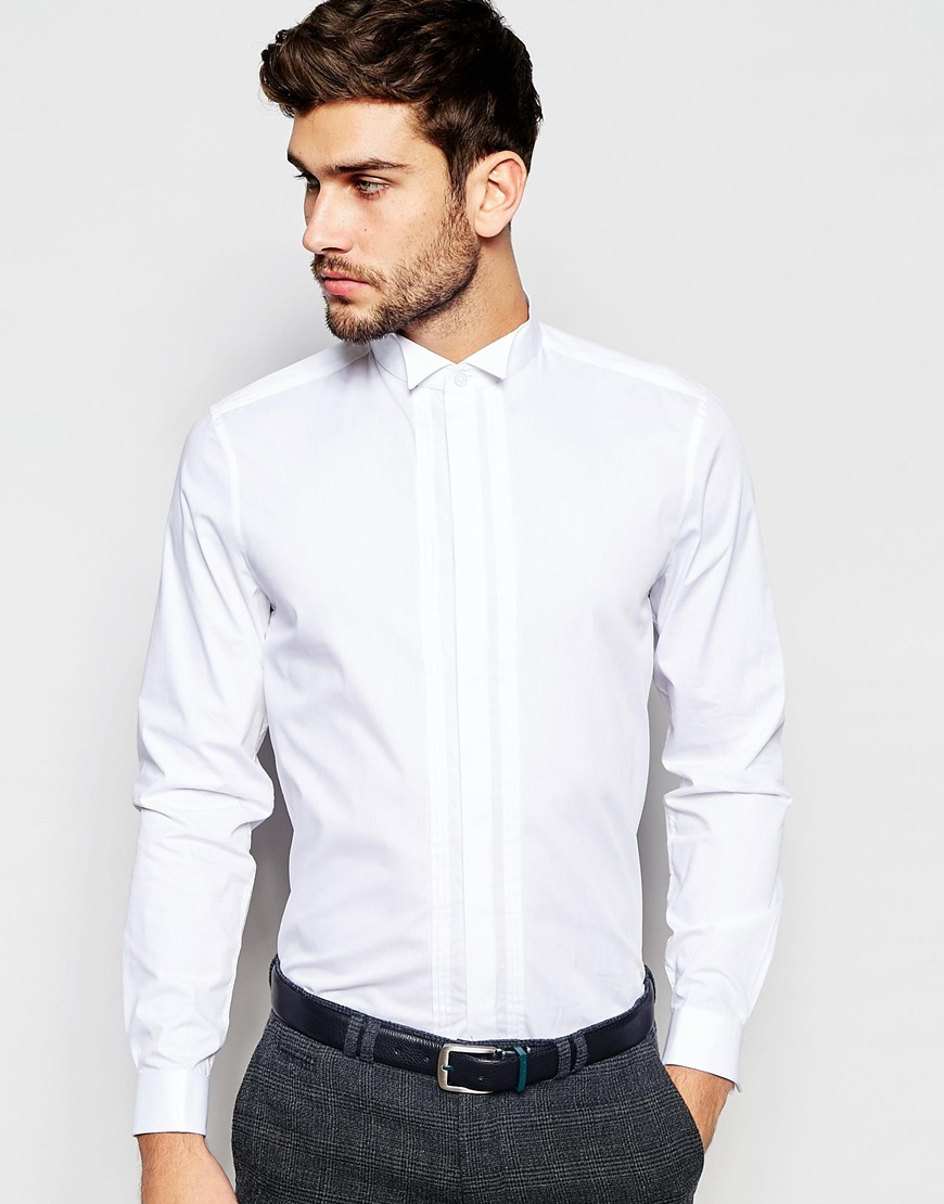 asos wedding white shirt with pleated bib and wing collar in regular fit in white for men lyst. Black Bedroom Furniture Sets. Home Design Ideas