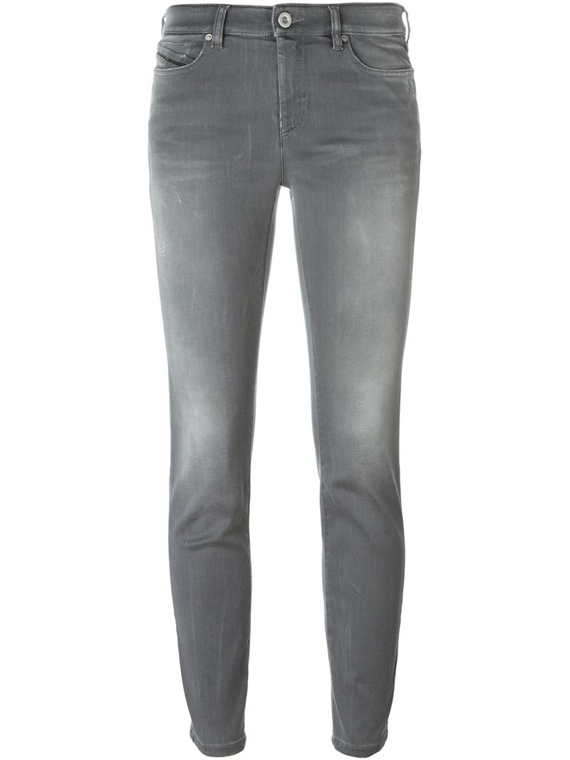 diesel black gold skinny jeans in gray grey save 50. Black Bedroom Furniture Sets. Home Design Ideas
