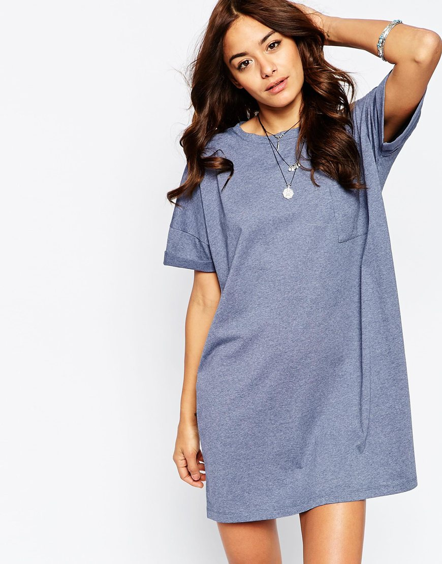 Asos casual oversize t shirt dress with pocket in blue lyst for Blue dress shirt outfit