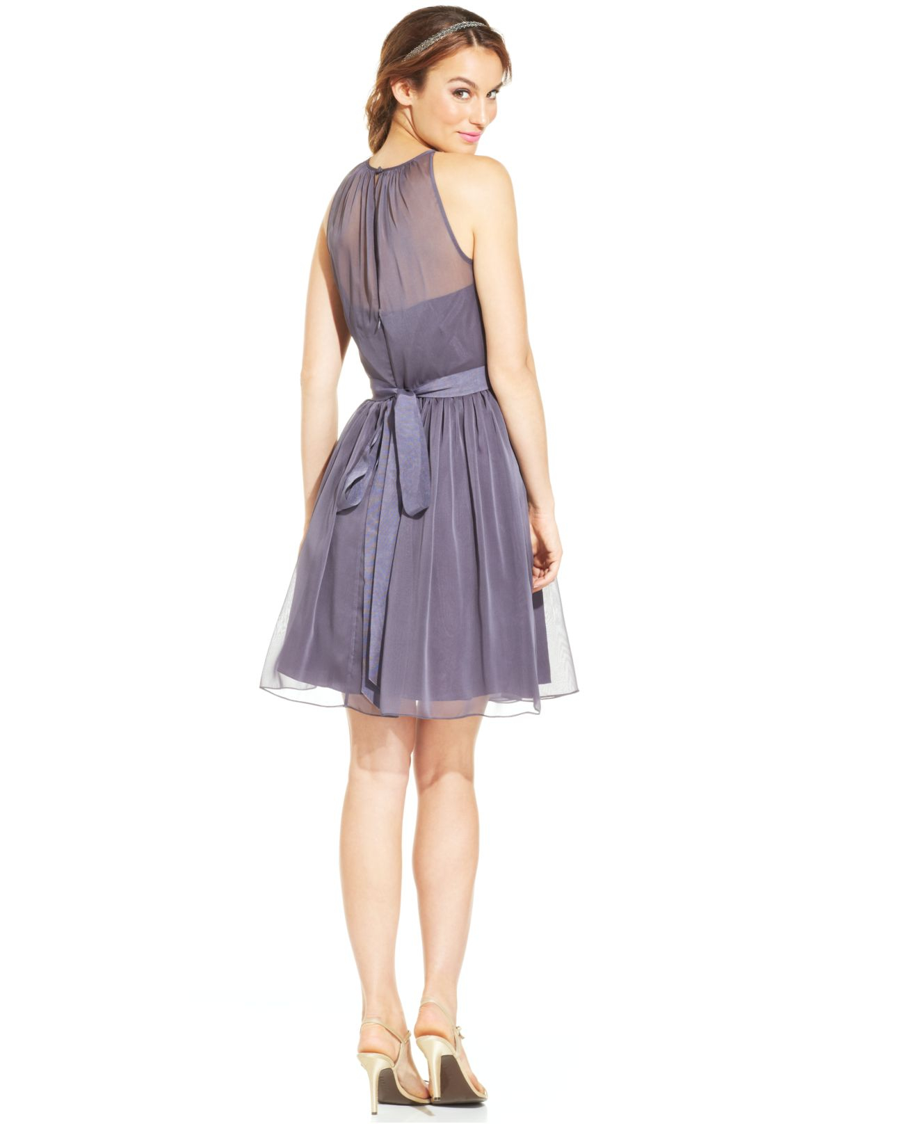 Adrianna papell Belted Chiffon Halter Dress in Purple | Lyst