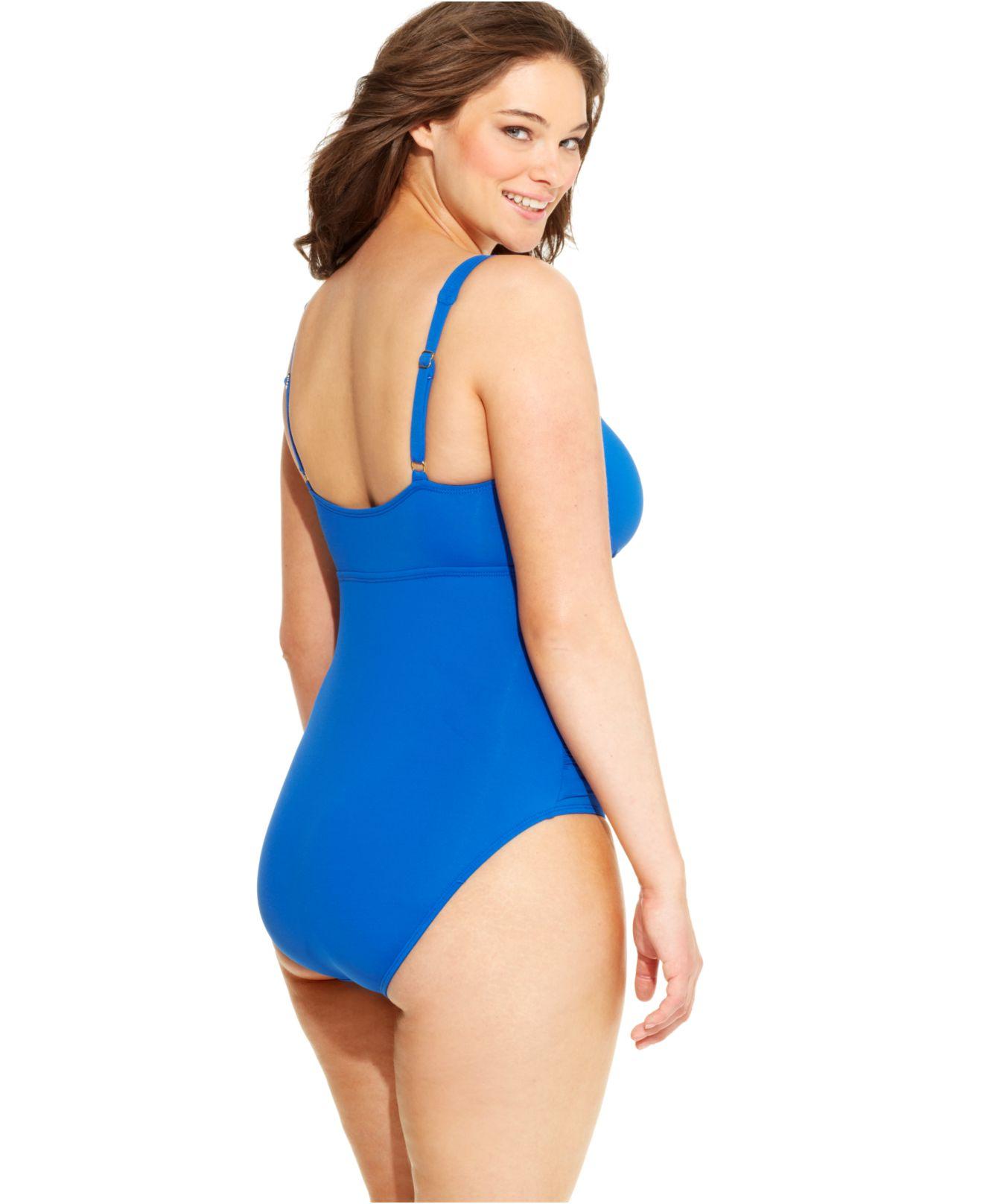 45d2d910b01 Lauren by Ralph Lauren Plus-Size Twist-Front One-Piece Swimsuit in ...