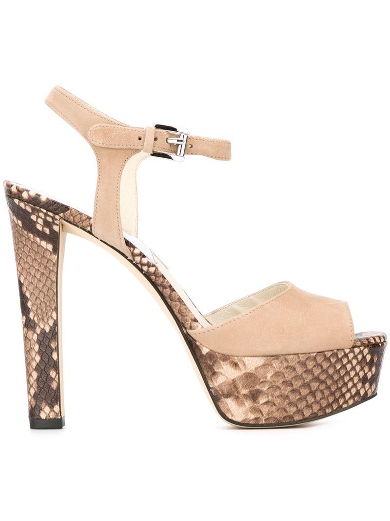 974b5af502f Lyst - MICHAEL Michael Kors  trish  Platform Sandals in Natural