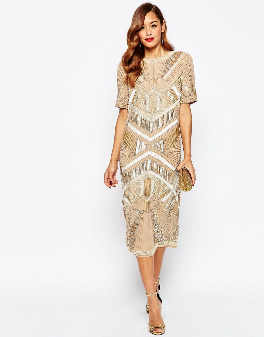 Lyst - Asos Red Carpet Iridescent Midi T Shirt Dress in Metallic