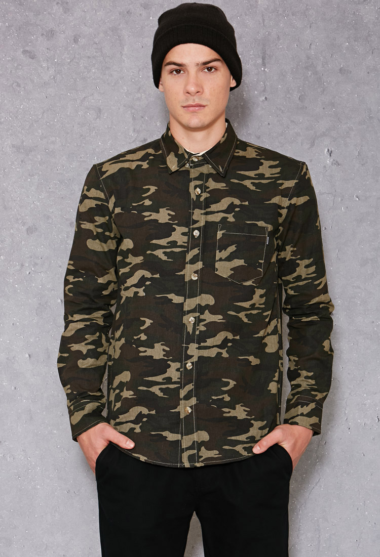 Lyst Forever 21 Reason Camo Button Down Shirt In Green