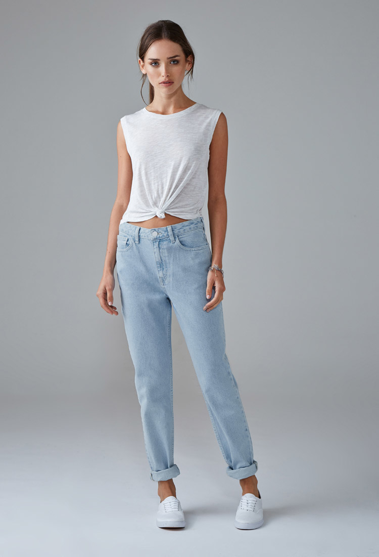 forever 21 mom jeans in blue lyst. Black Bedroom Furniture Sets. Home Design Ideas