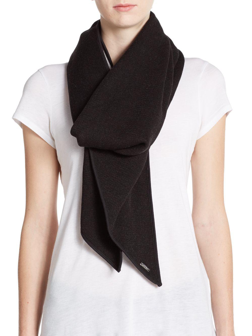 calvin klein reversible knit scarf in gray lyst