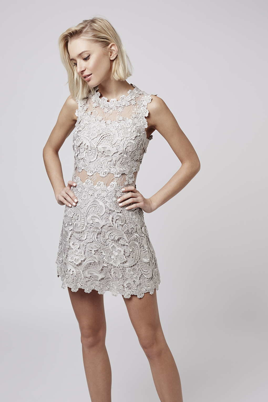 Silver Lace Cocktail Dress