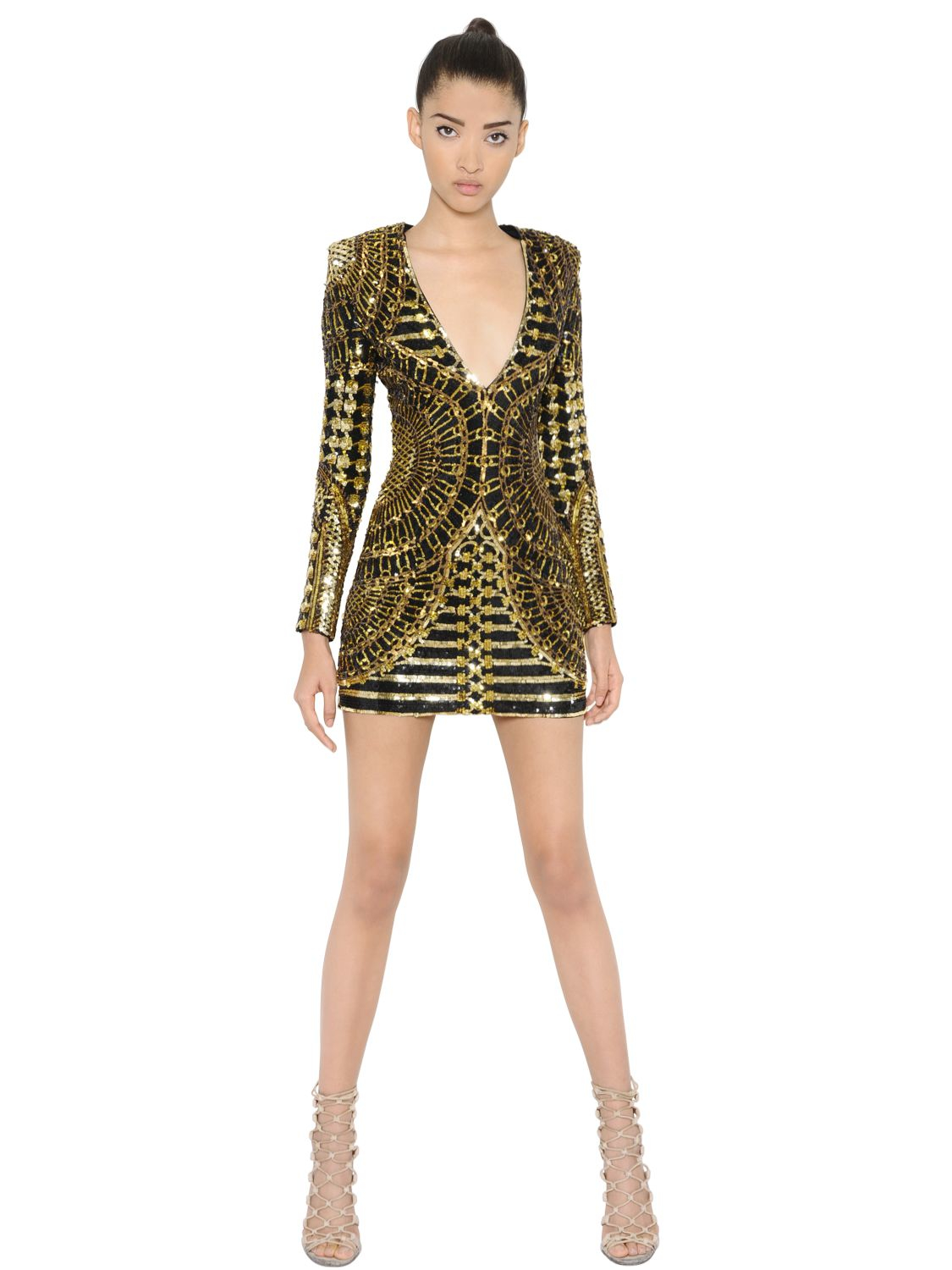 balmain blackgold sequined chiffon dress black product 0 096706270 normal