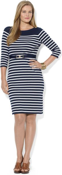 by ralph plus size striped belted dress in