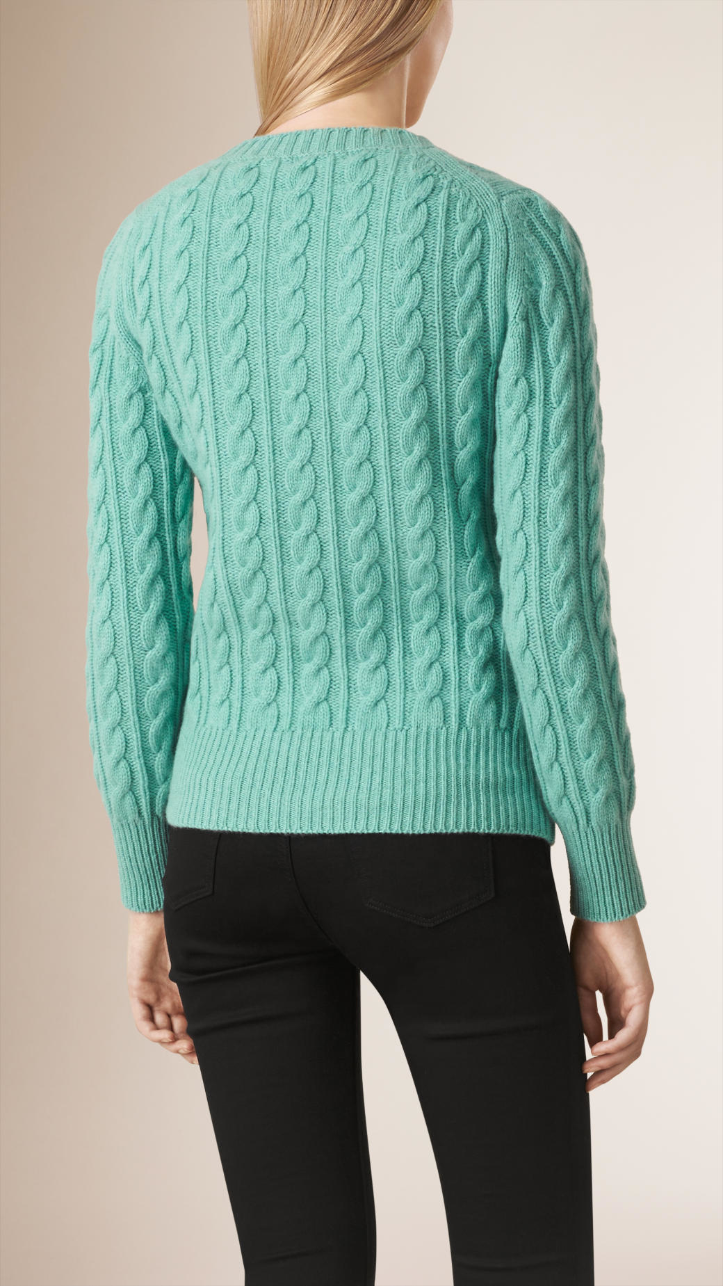 Wool Sweater Grey: Burberry Cable Knit Wool Cashmere Sweater Dusty