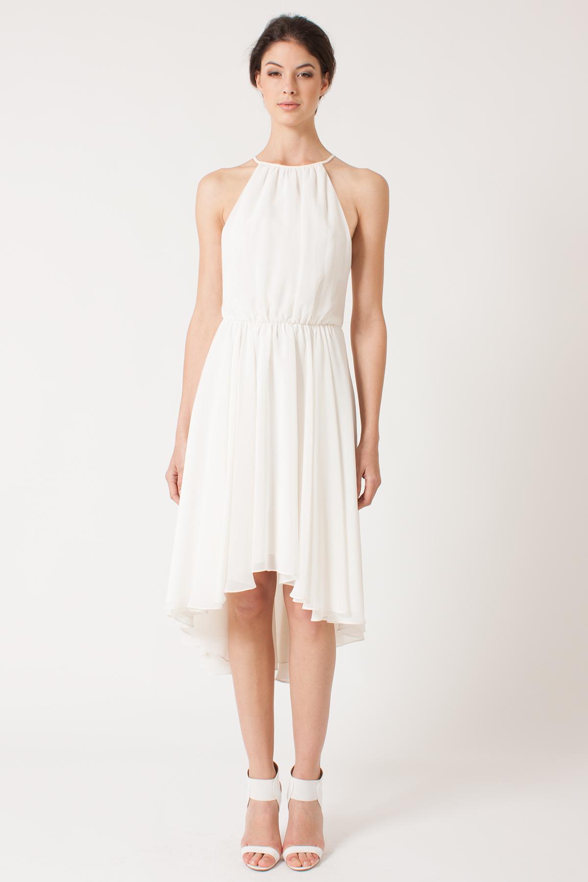 Black Halo Azalea Halter Dress In Chiffon In White Lyst