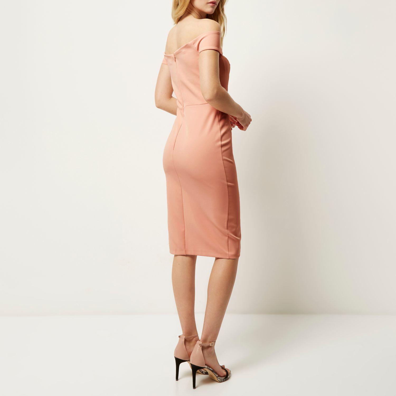 57d66bb14397a River Island Light Pink Bardot Bodycon Midi Dress in Pink - Lyst