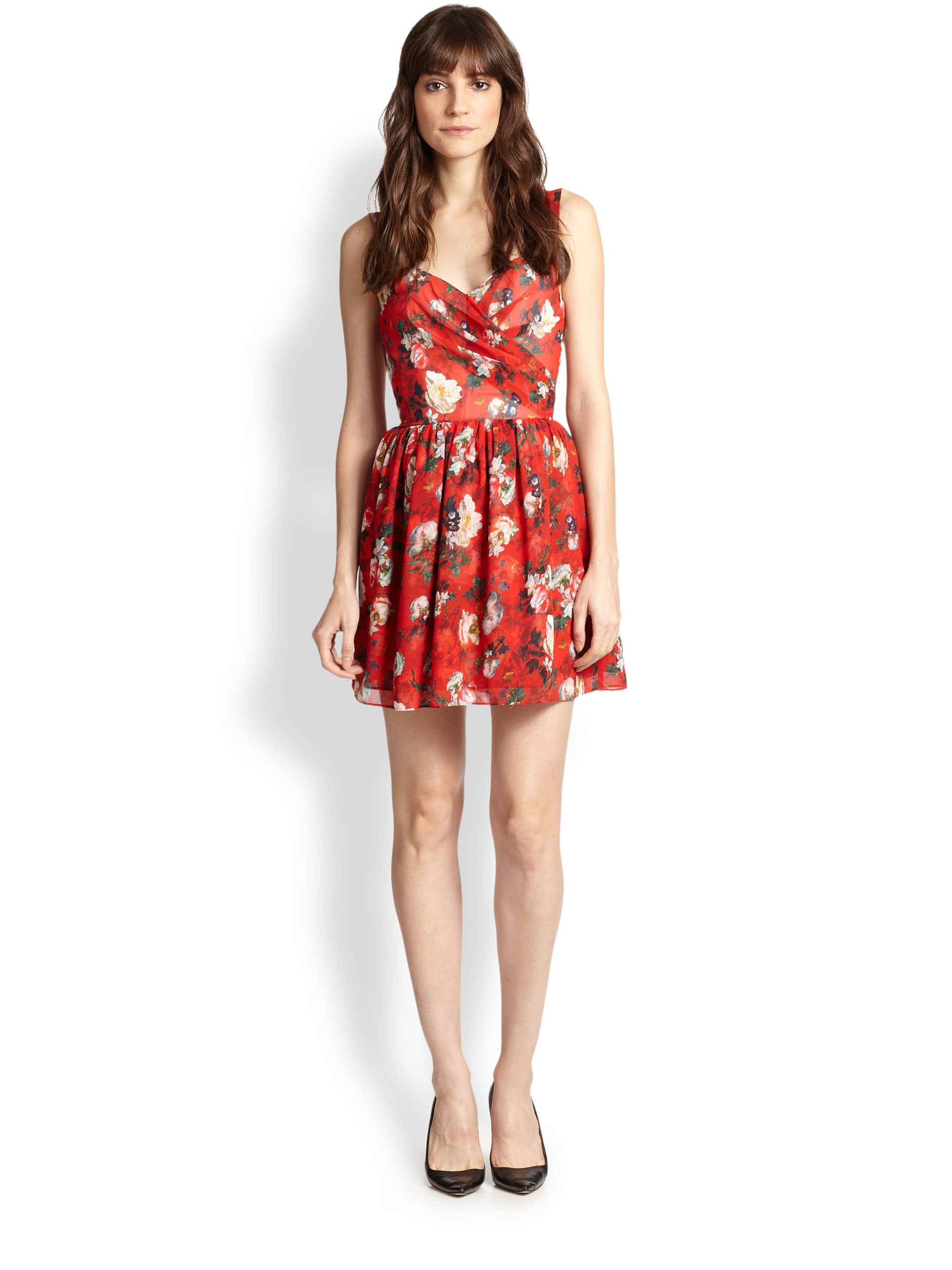 6c947e57bce The Kooples Floral-print Chiffon Dress in Red - Lyst