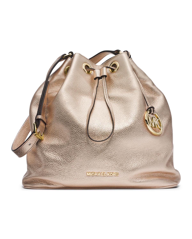 3a5f8e69db92 Michael Kors Michael Large Jules Drawstring Shoulder Bag in Metallic ...