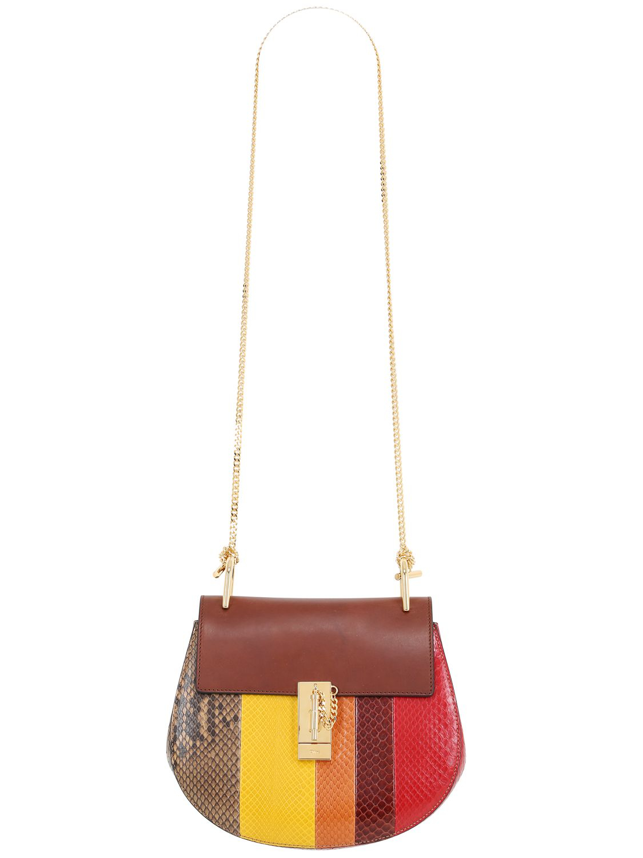 chloe bags - chloe drew small python shoulder bag, chloe elsie shoulder bag medium
