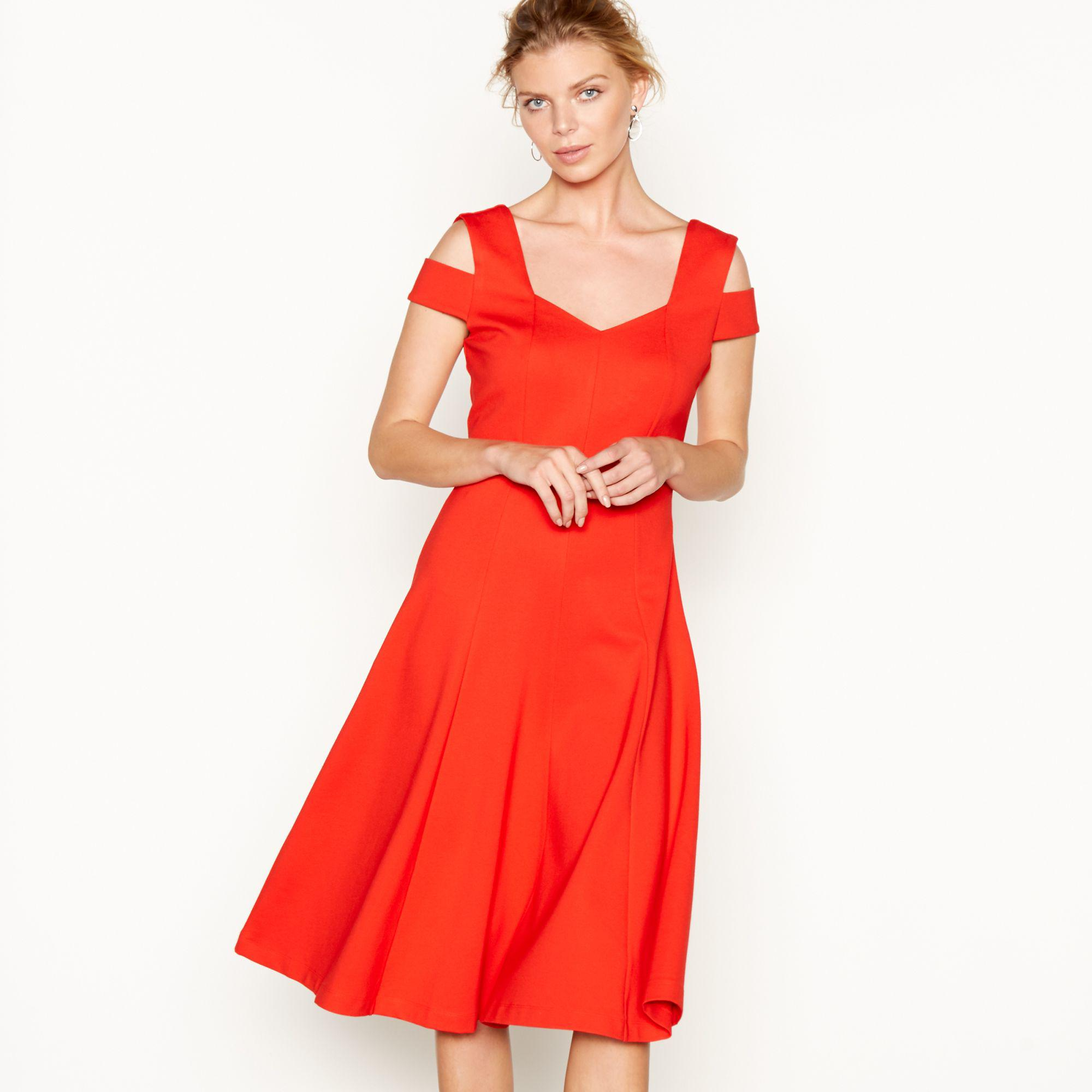 J By Jasper Conran Red Double Strap V-neck Knee Length Skater Dress ... 76baa5cf3