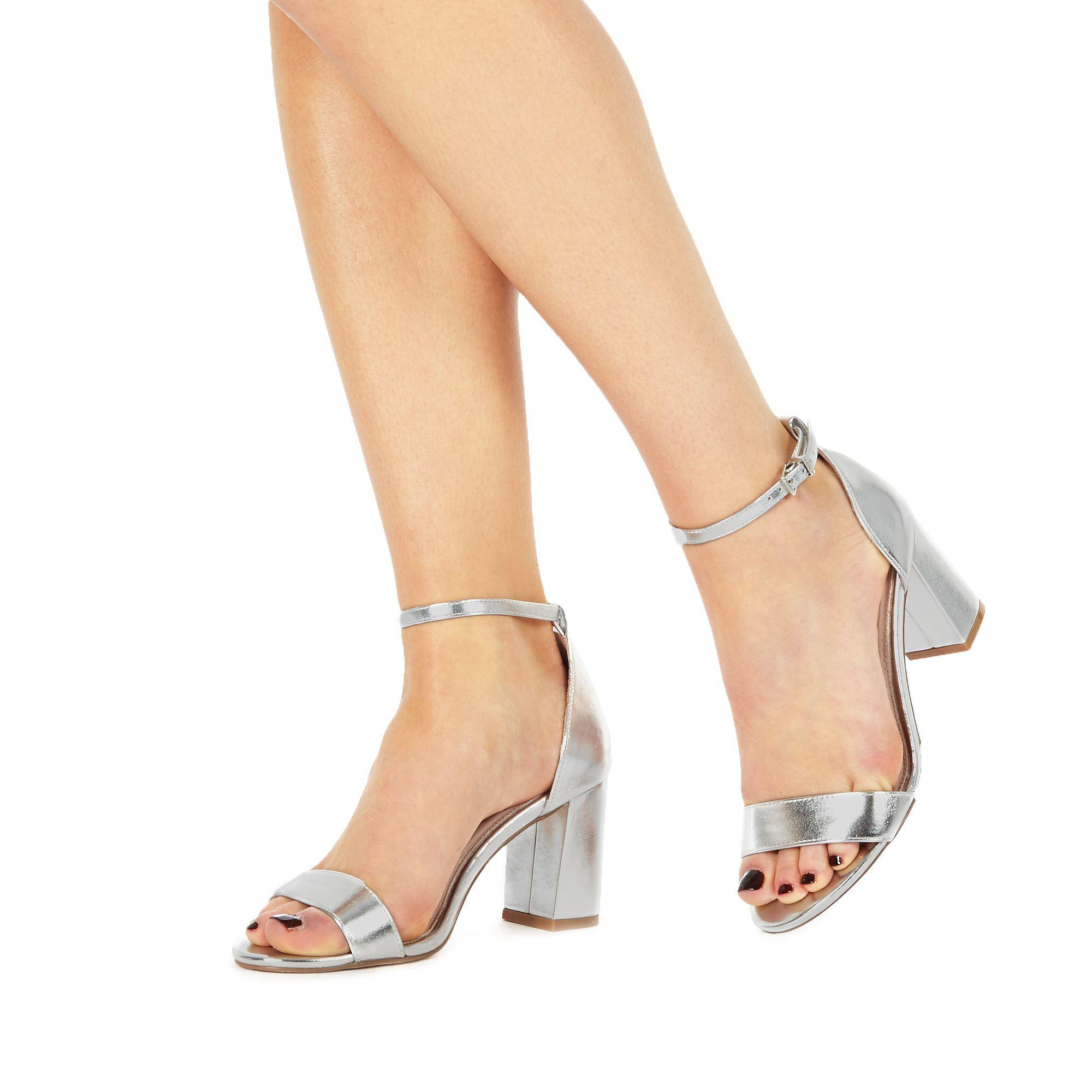 e4ad75551c5 Faith Silver  demi  High Heel Wide Fit Ankle Strap Sandals in ...