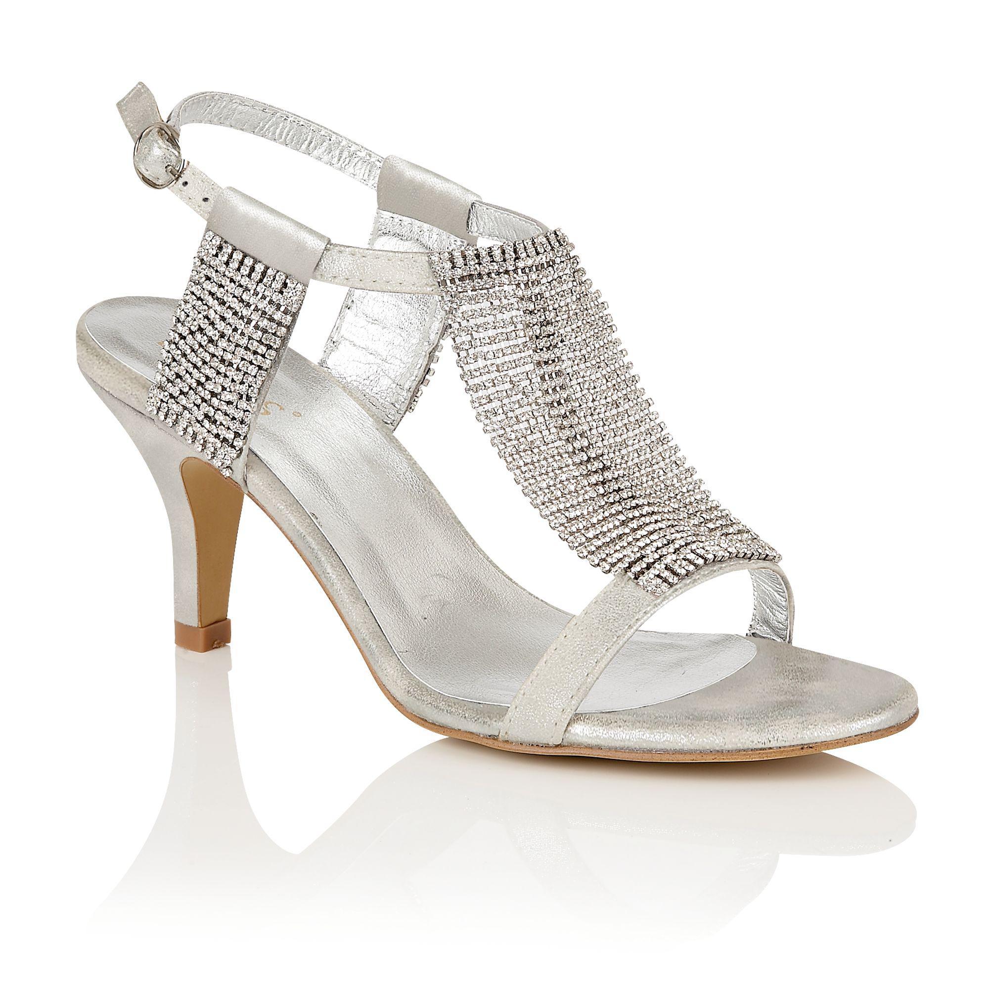 01eb88be319 Lotus Silver Diamante 'aspey' High Heel T-bar Sandals in Metallic - Lyst