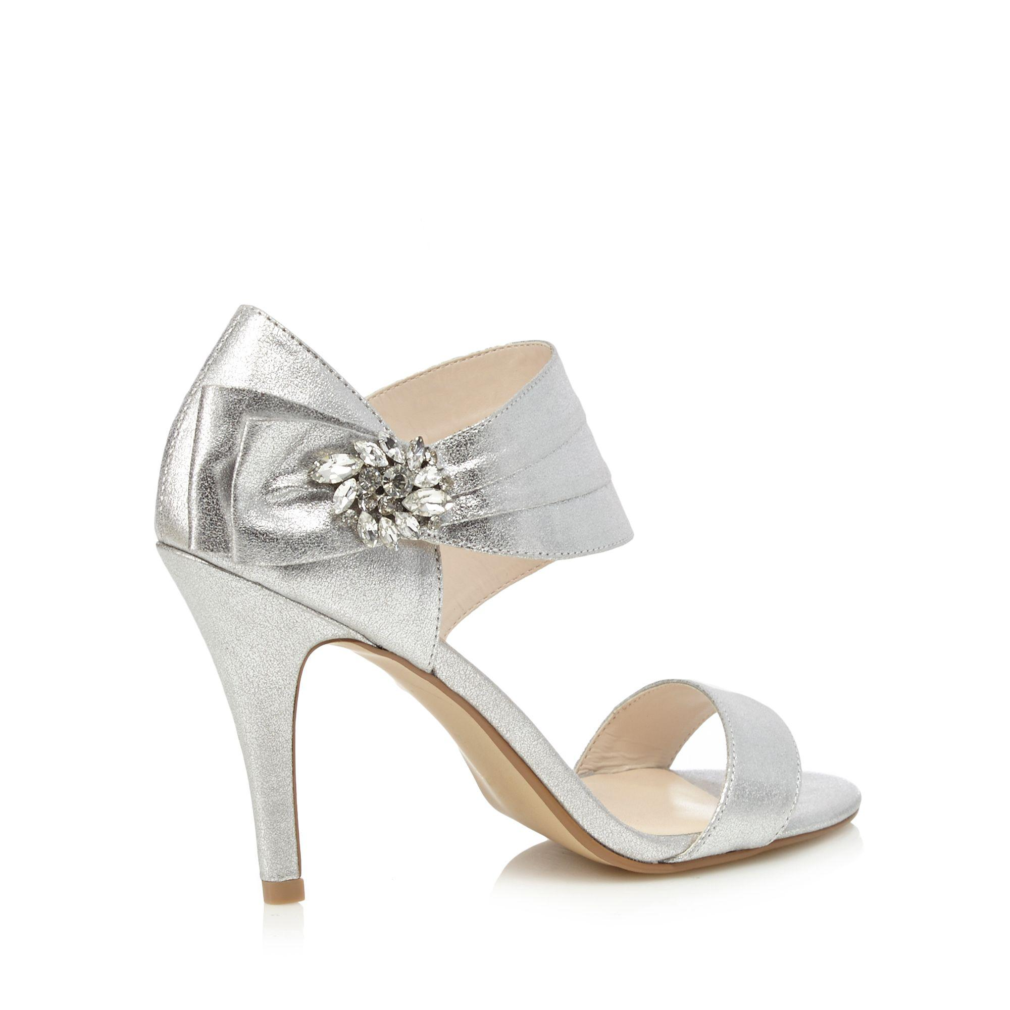 a2a39ad20fb Jenny Packham Silver  polly  High Stiletto Heel Ankle Strap Sandals ...
