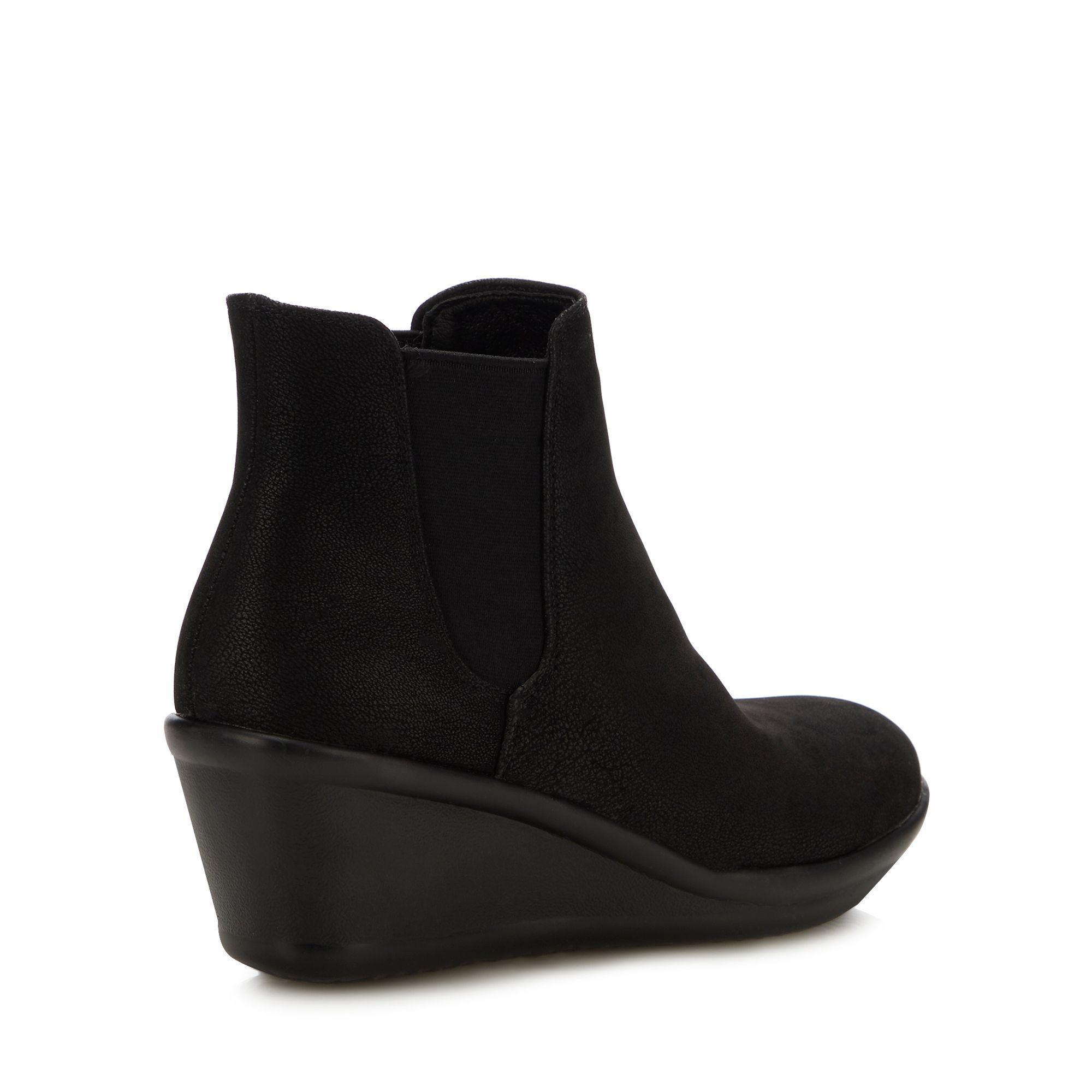 daa7d0d5e0c Skechers Black  rumblers Beam Me Up  Wedge Heel Chelsea Boots in ...