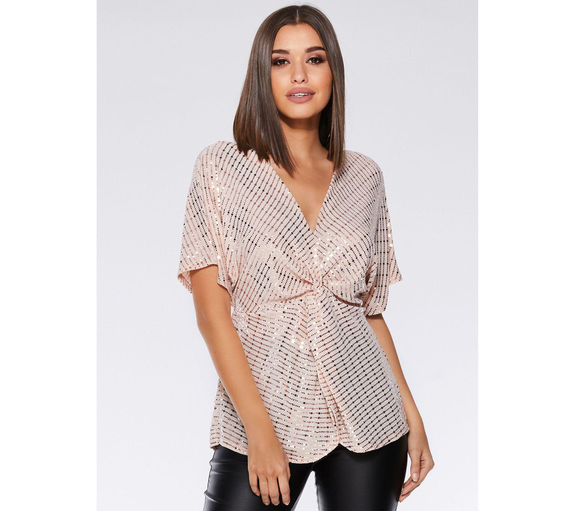 c054191a93a608 Quiz Nude And Silver Sequin Knot Front Batwing Top in Natural - Lyst