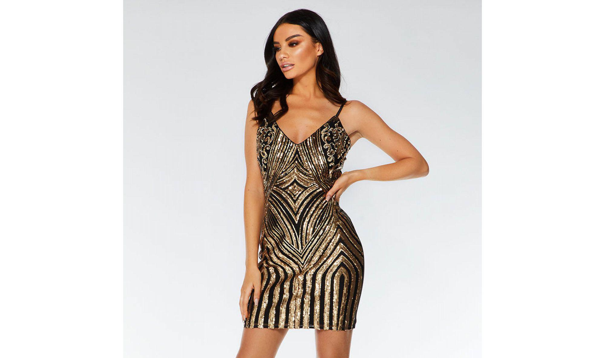 9e3ee5533a3f Quiz Towie Black And Gold Sequin Bodycon Dress in Black - Lyst