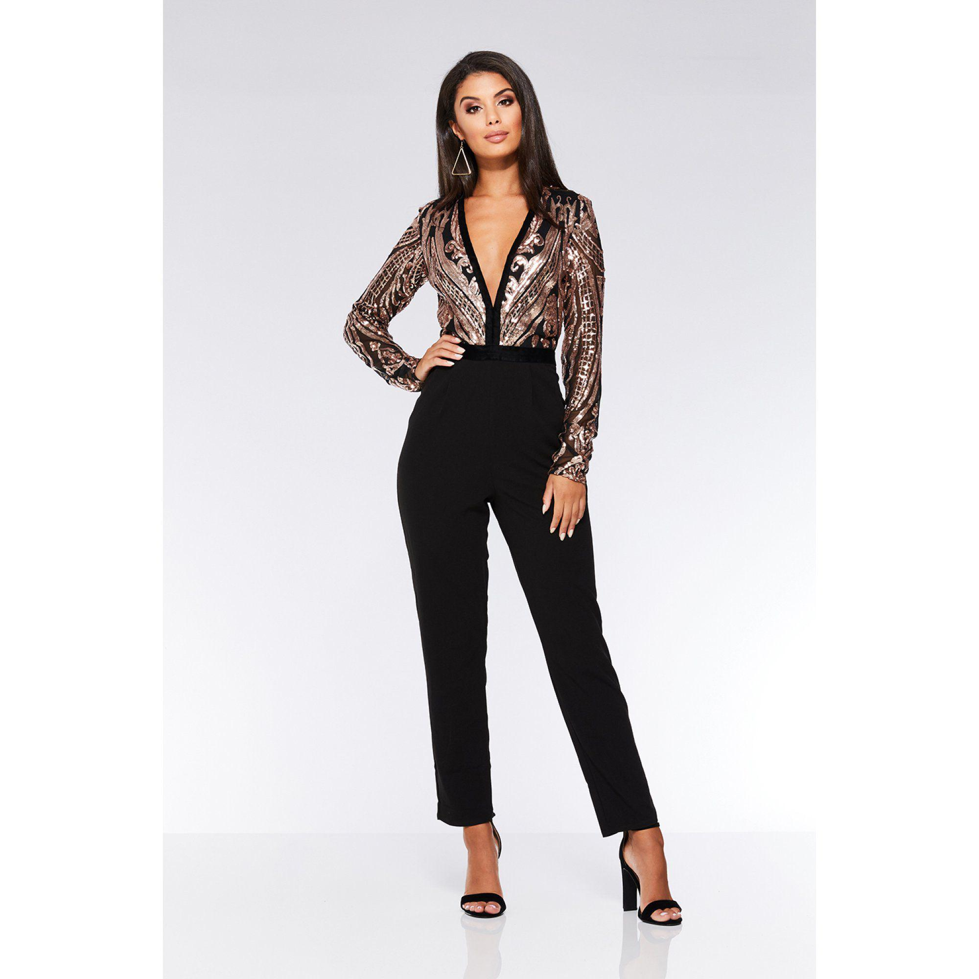 bb851c471a Quiz Black And Rose Gold Sequin V Neck Jumpsuit in Black - Lyst