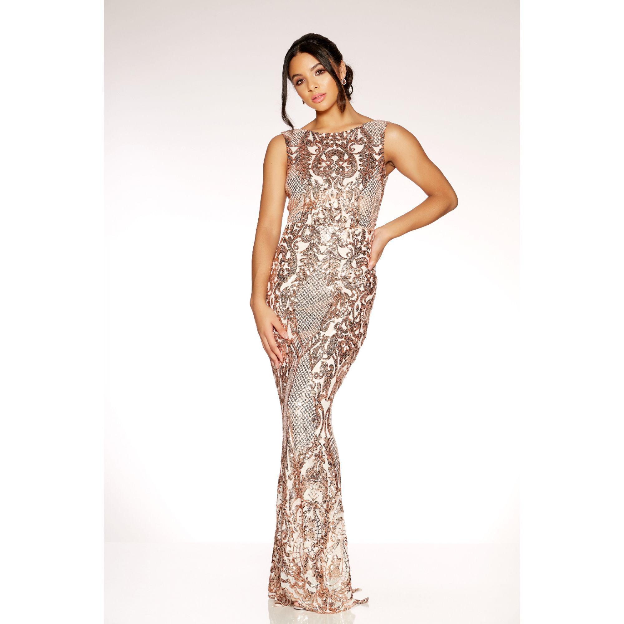 a9ebfbafaf Quiz Rose Gold Sequin Mesh High Neck Fishtail Maxi Dress In Metallic