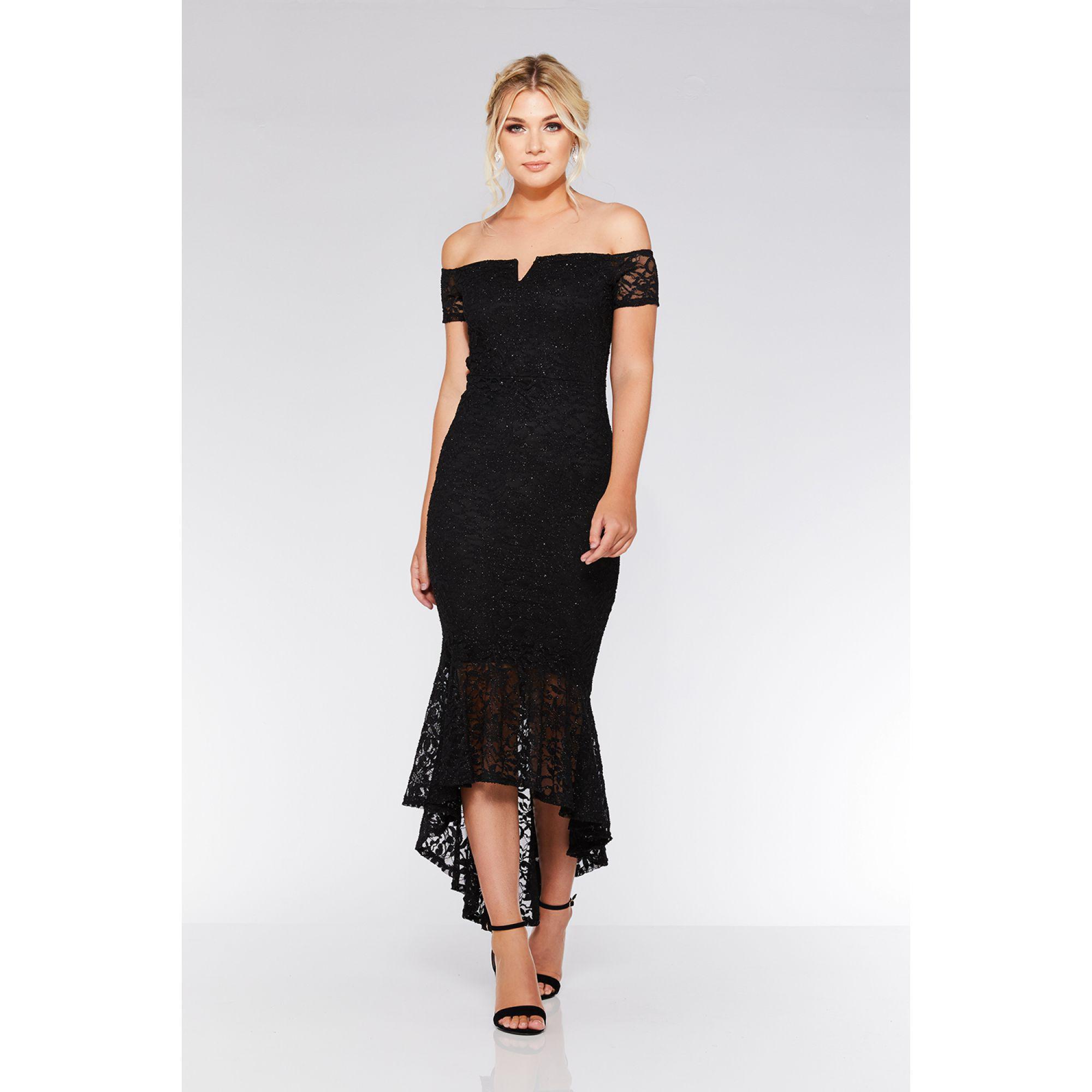 6a500d0f8b7 Quiz Black Lace Dip Hem Maxi Dress in Black - Lyst