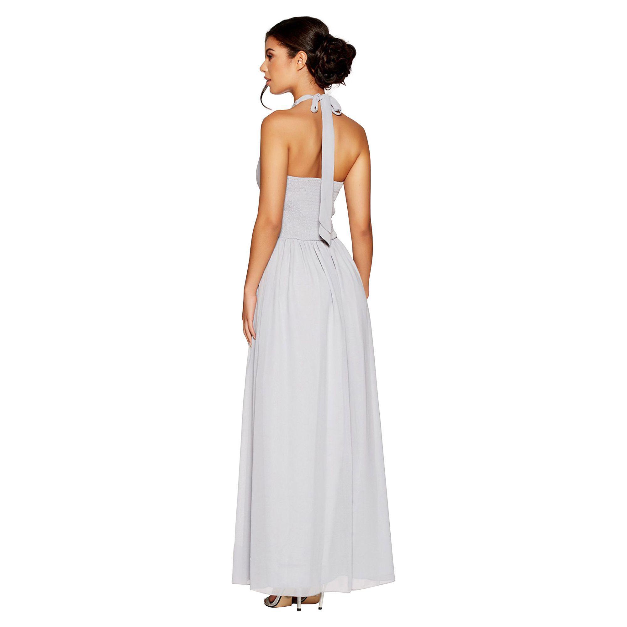 c7331a872a Quiz Grey Chiffon Embellished Keyhole Maxi Dress in Gray - Lyst