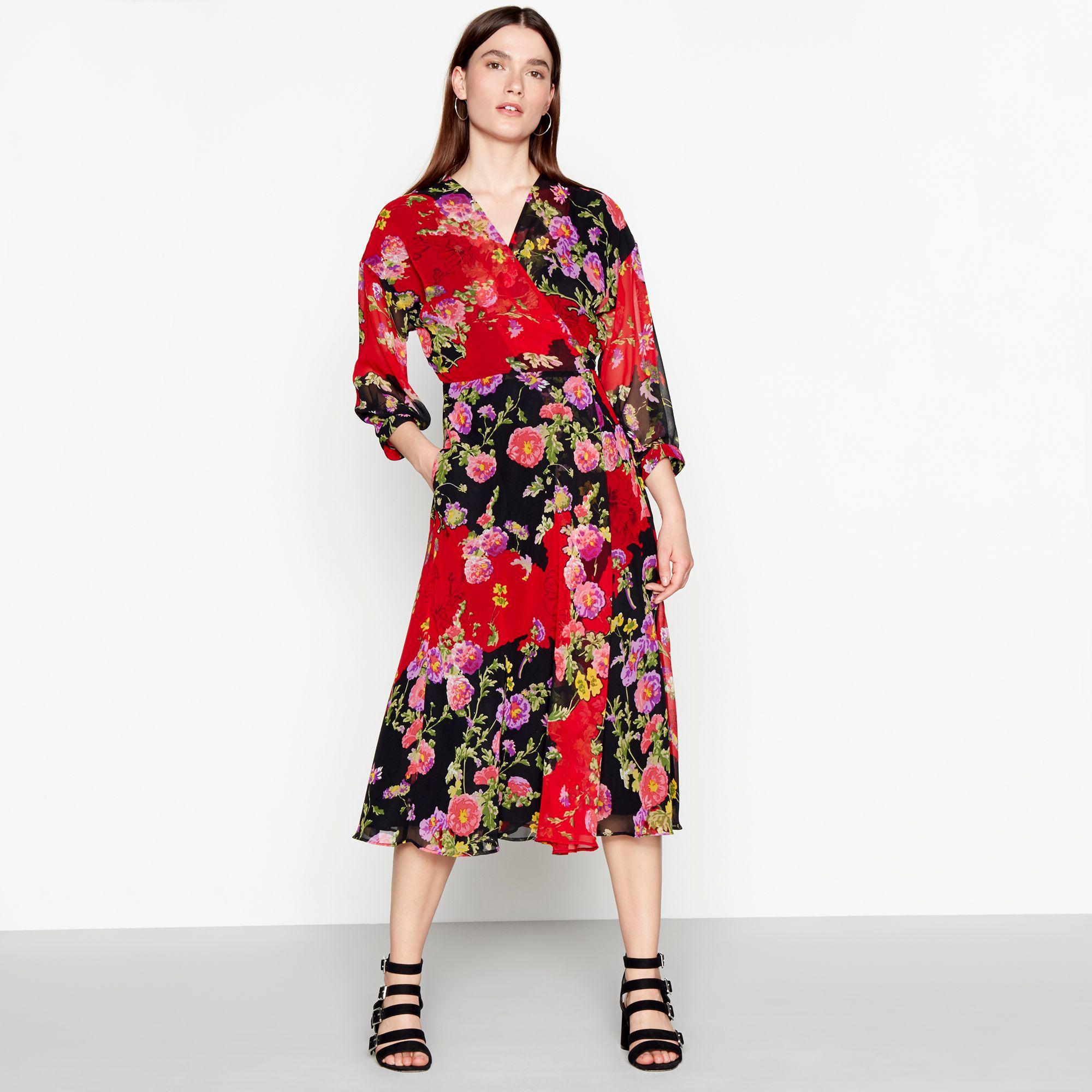 ddab60eba77e Preen By Thornton Bregazzi Red Floral Print Chiffon V-neck Long ...