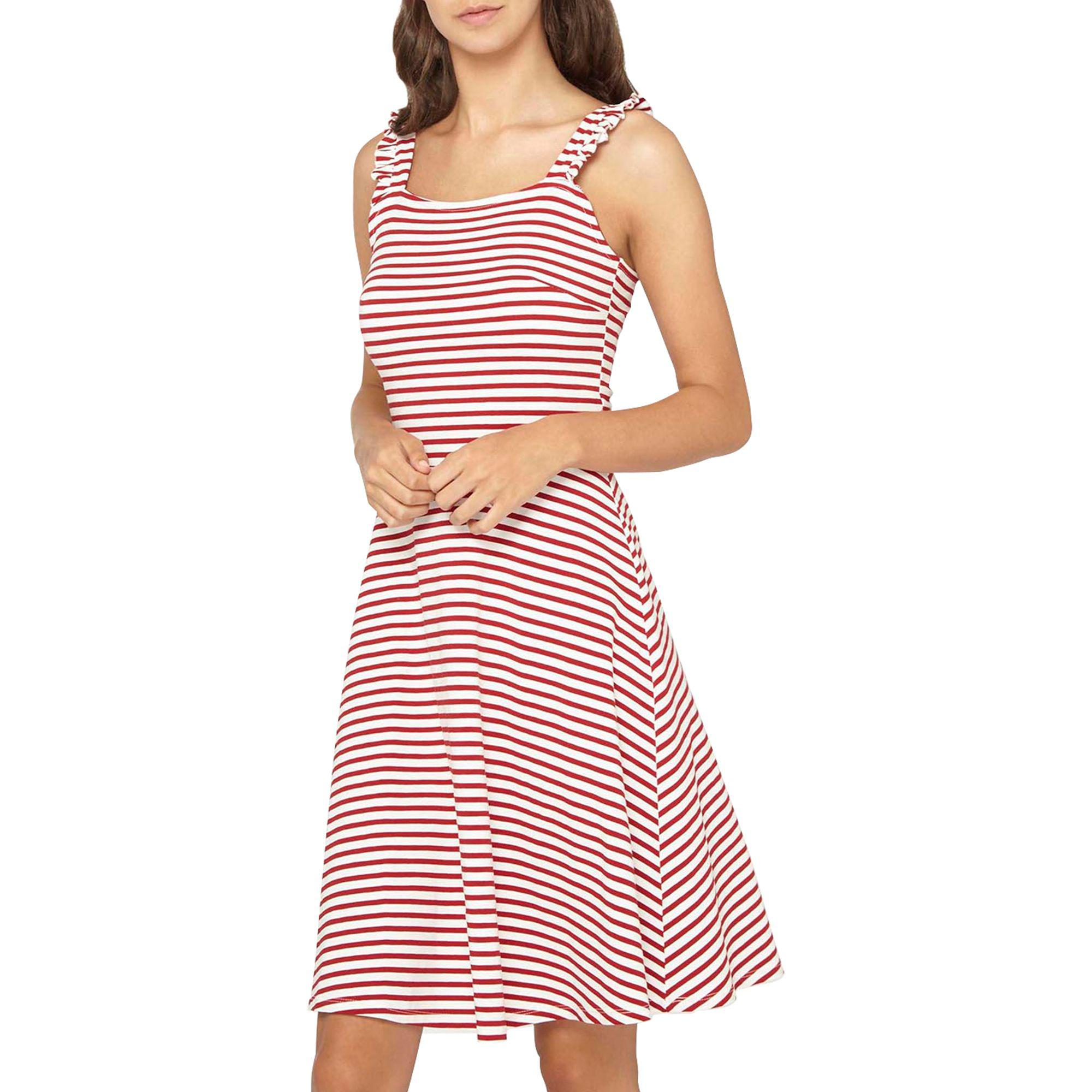 9b65593342 Dorothy Perkins Tall Red Striped Ruffle Sundress in Black - Lyst