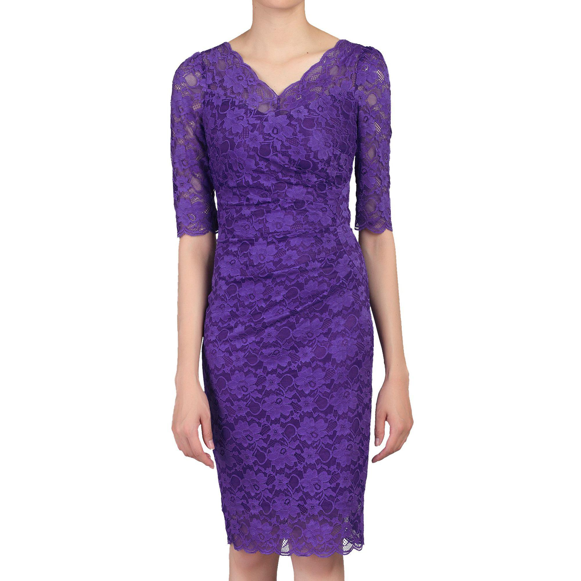 4ec9262f Jolie Moi Lilac 3/4 Sleeves V Neck Ruched Lace Dress in Purple - Lyst