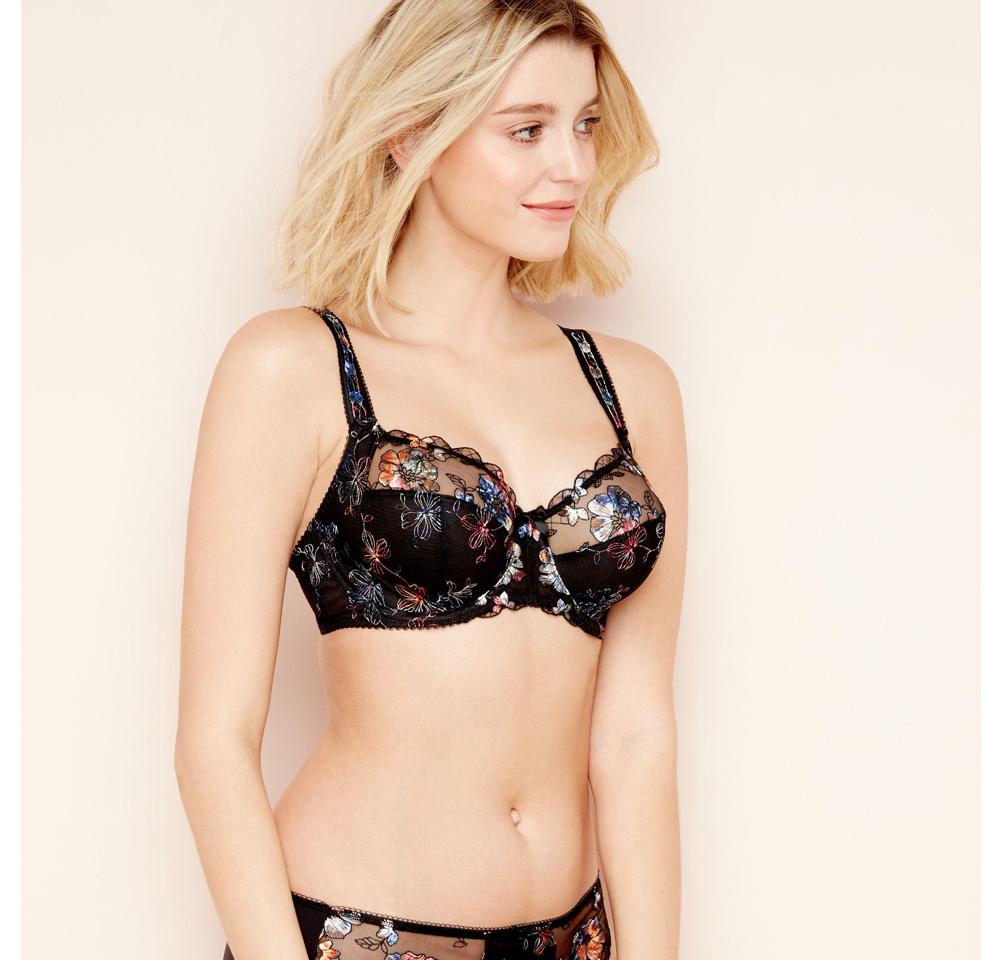 78221429807 Fantasie Black Floral Embroidered  nadine  Underwired Non-padded ...