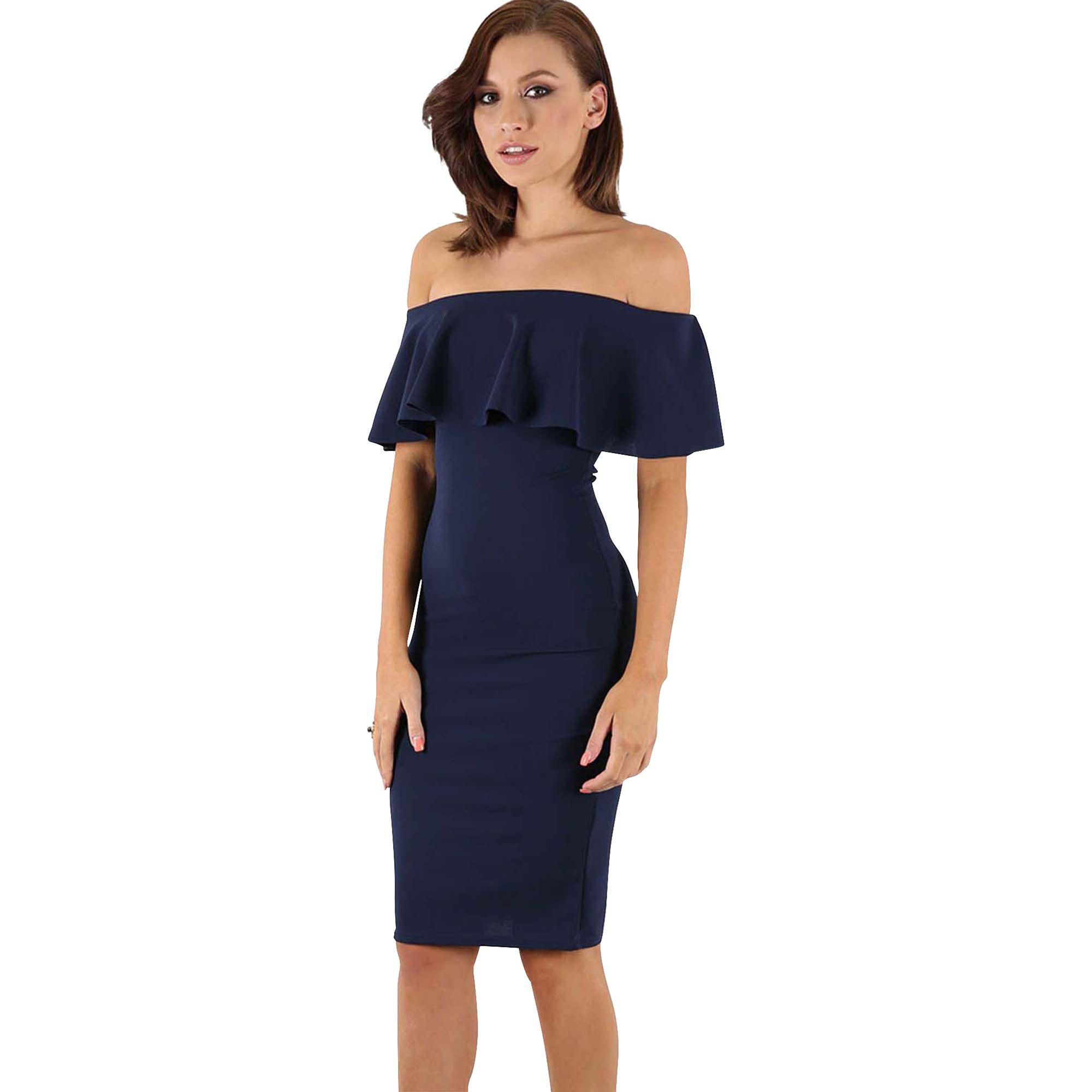 02099030ecba Be Jealous Navy Off Shoulder Peplum Dress in Blue - Lyst