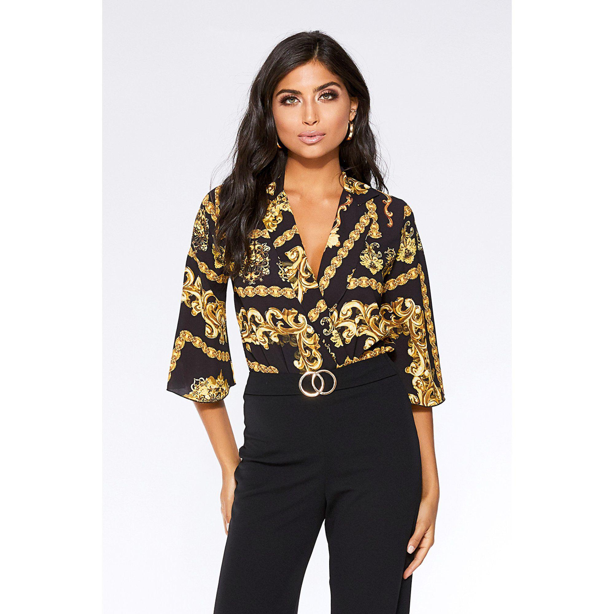 4cec82a94a Quiz Black And Gold Scarf Print 3 4 Sleeve Bodysuit in Black - Lyst