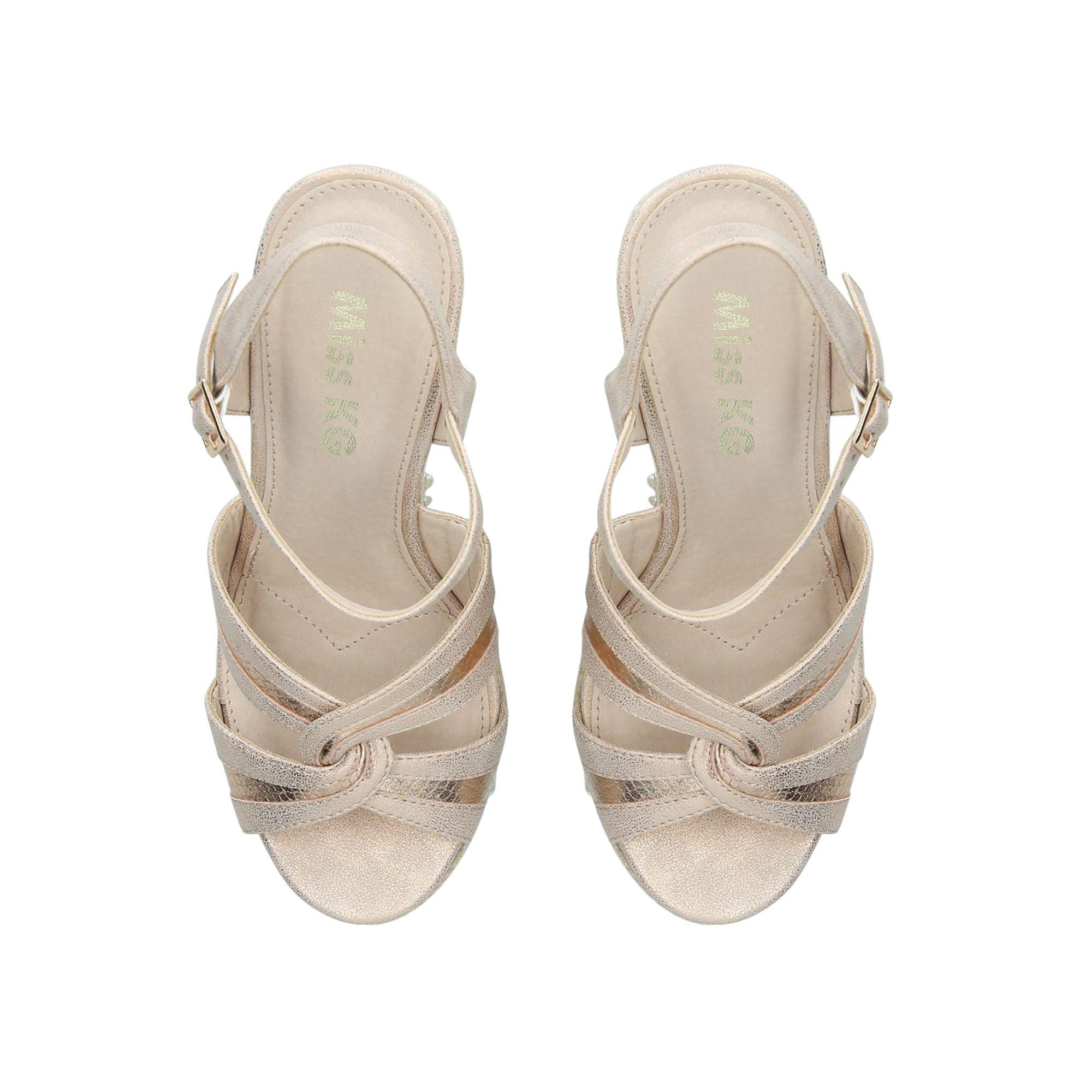 ea82358c1b Miss Kg - Natural Cream 'dani' Mid Heel Wedge Sandals - Lyst. View  fullscreen