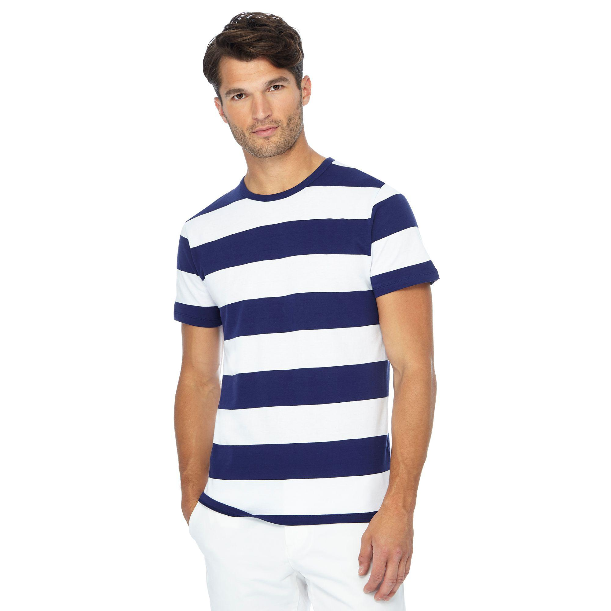 31517ca6 J By Jasper Conran Navy Block Stripe Cotton T-shirt in Blue for Men ...