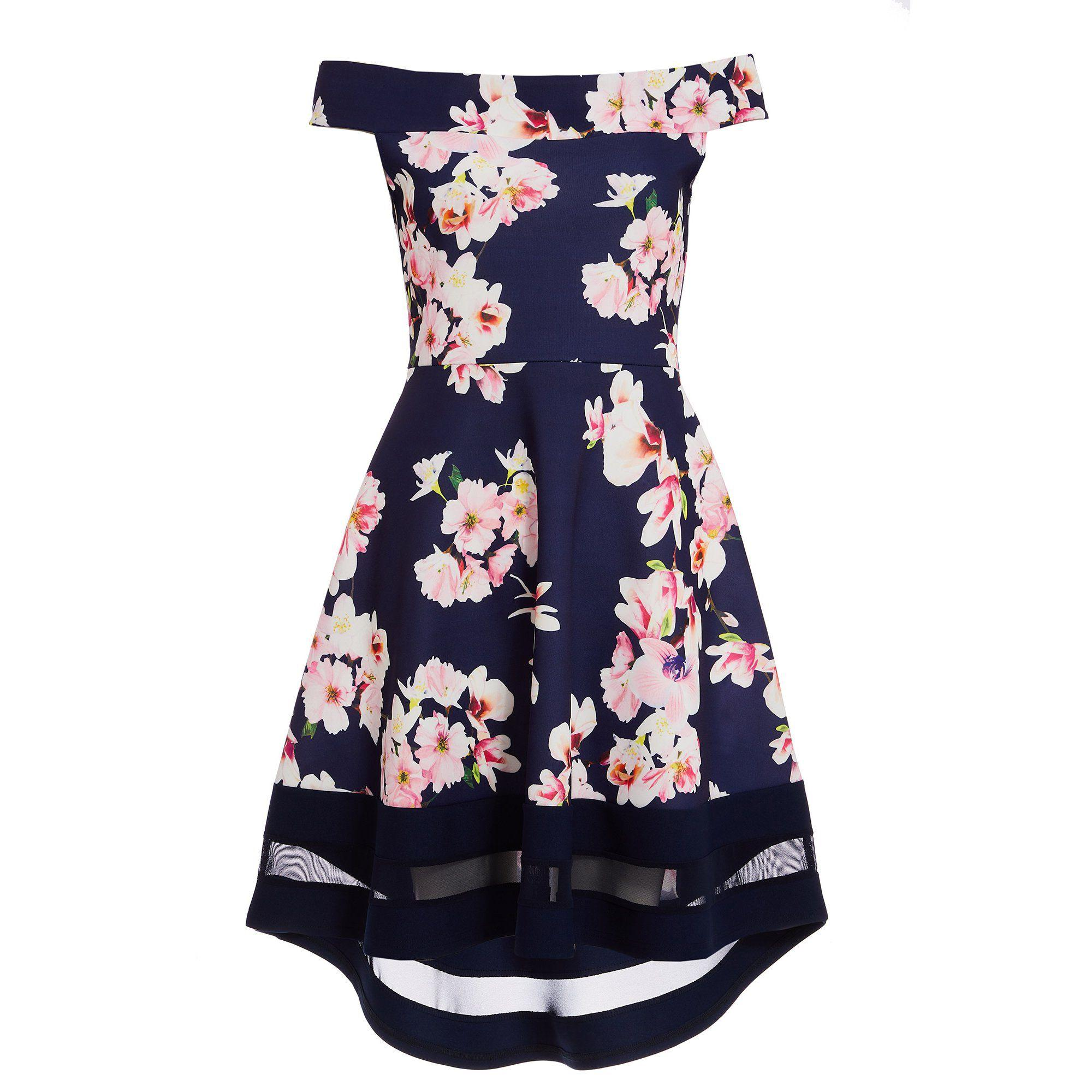 d653b396225 Quiz Navy Pink And Cream Floral Bardot Dip Hem Dress in Blue - Lyst