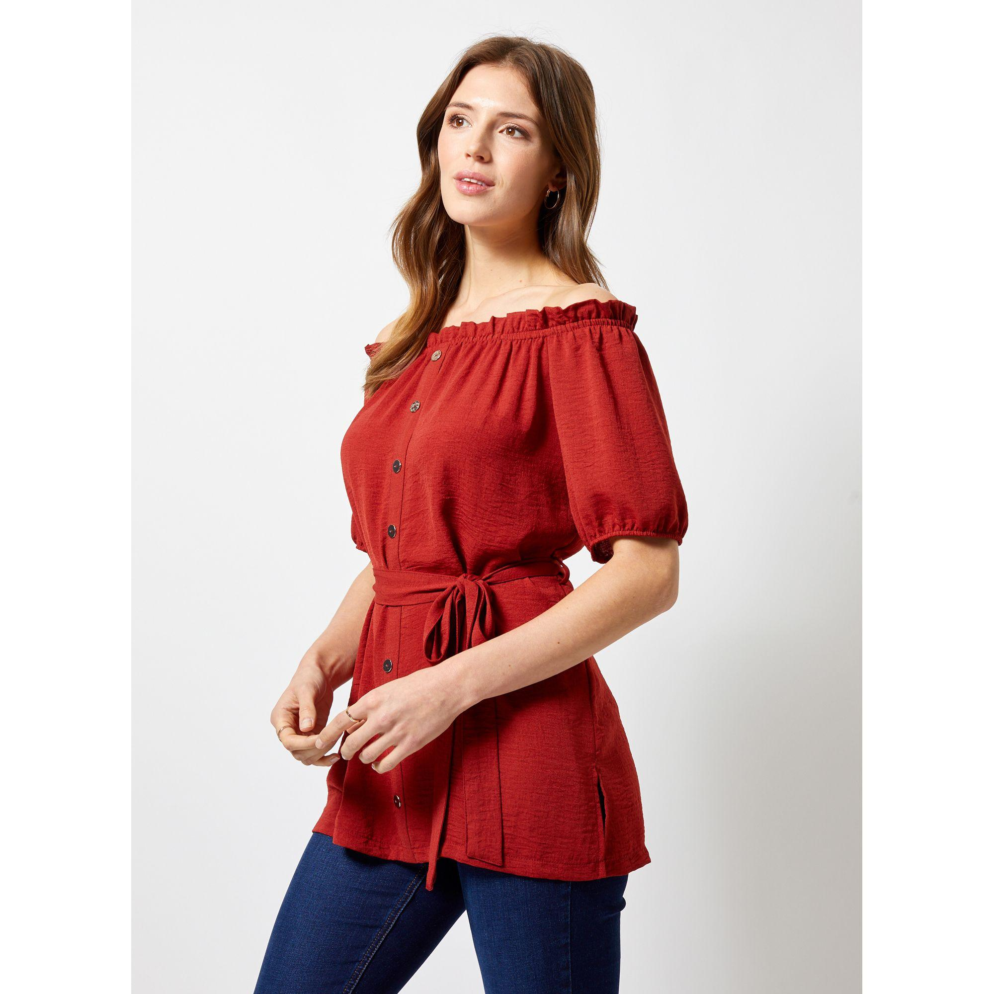 083c9eac95d879 Dorothy Perkins Red Terracotta Longline Bardot Tunic Top in Red - Lyst