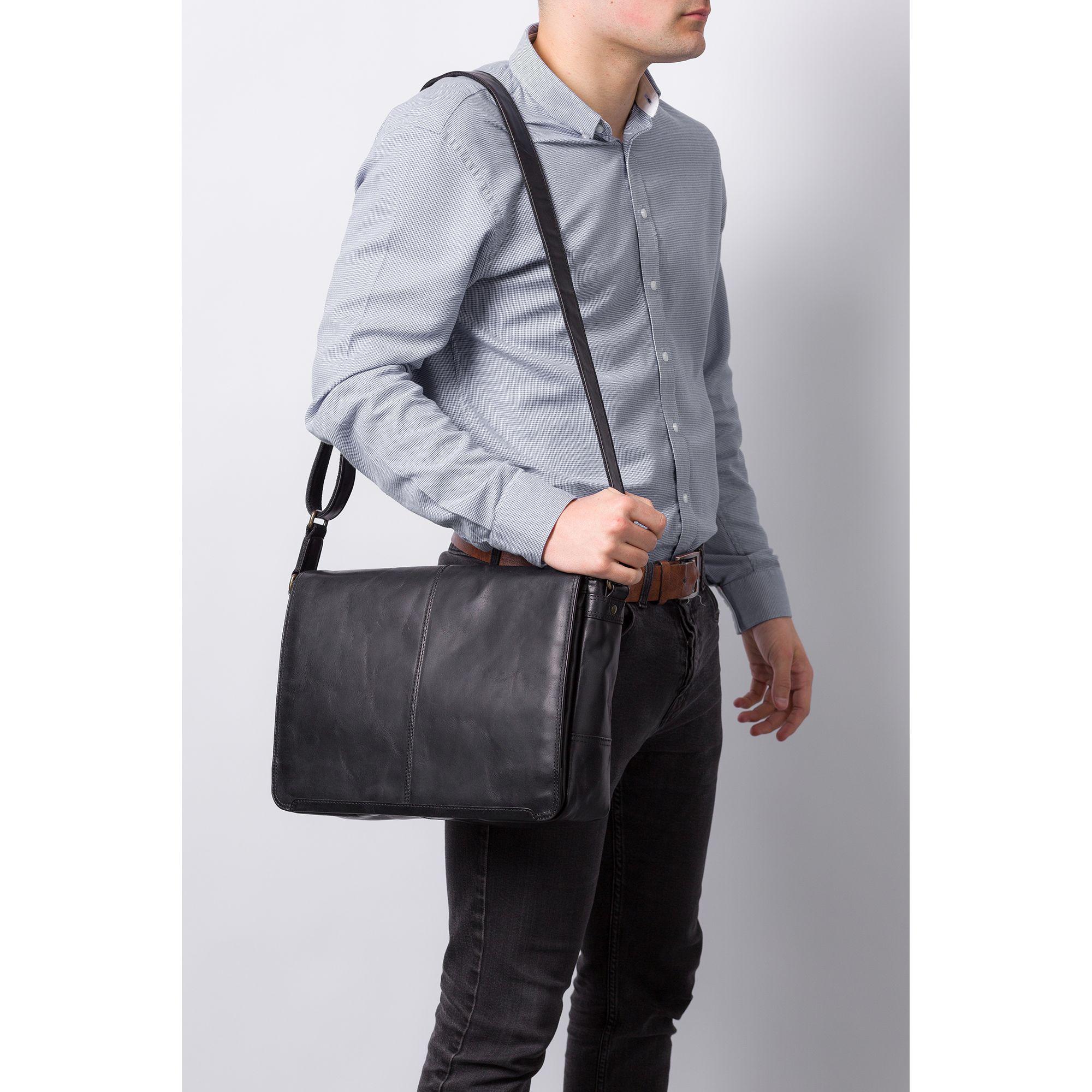 936088144c69 Conkca London Black  bermondsey  Buffalo Leather Messenger Bag in ...