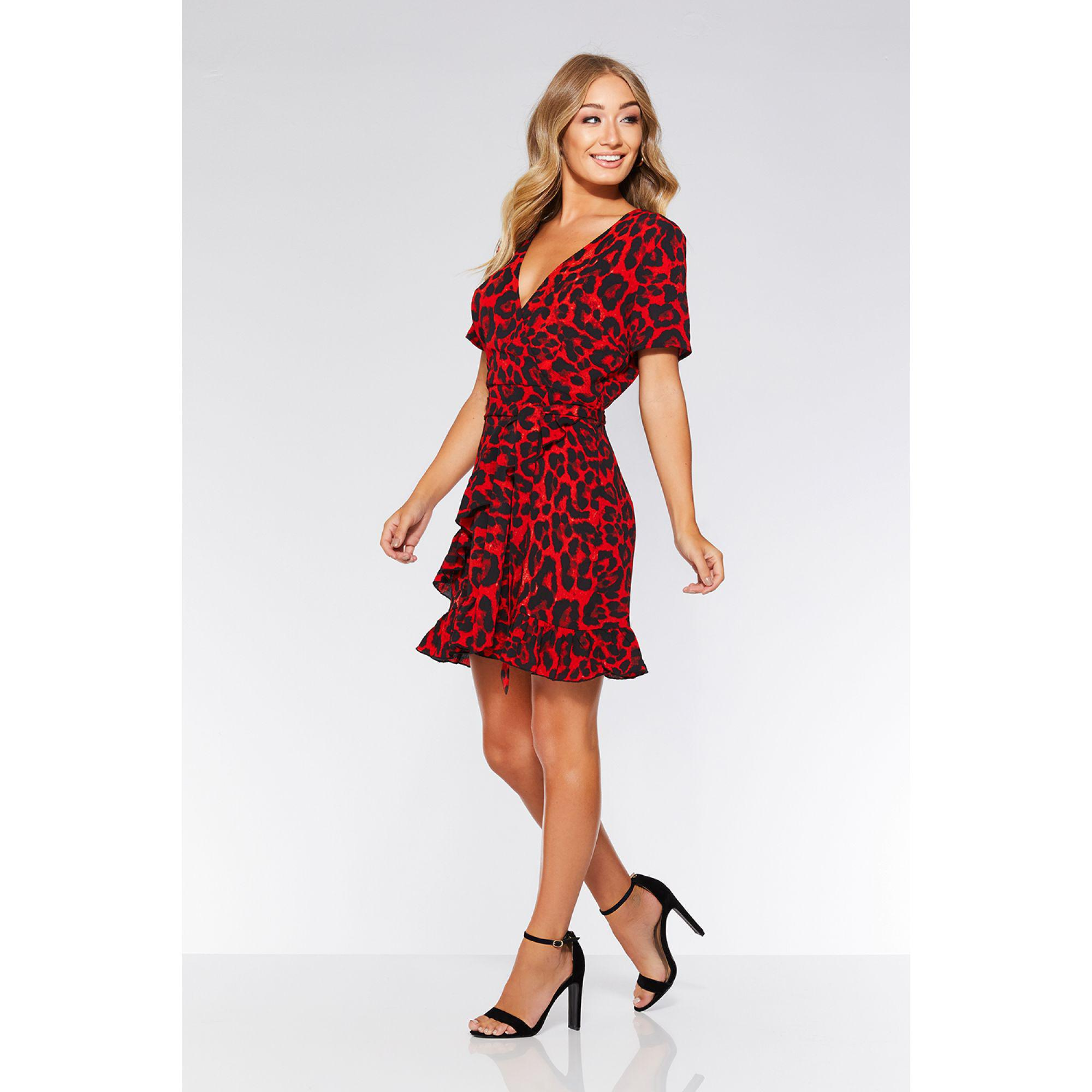 5a3a0d592 Quiz Olivia's Red And Black Leopard Print Wrap Dress in Red - Lyst