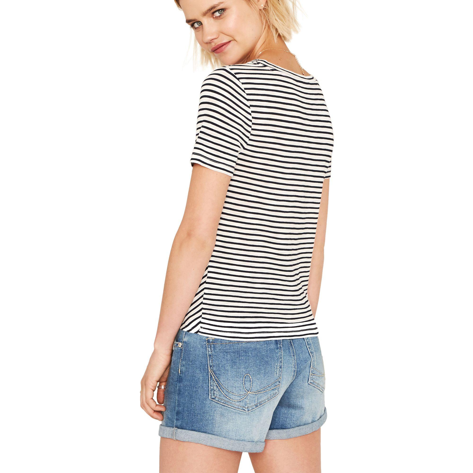 6f2aa7165fe4 Oasis - Multi Blue Chevron Stripe Tie Front T-shirt - Lyst. View fullscreen