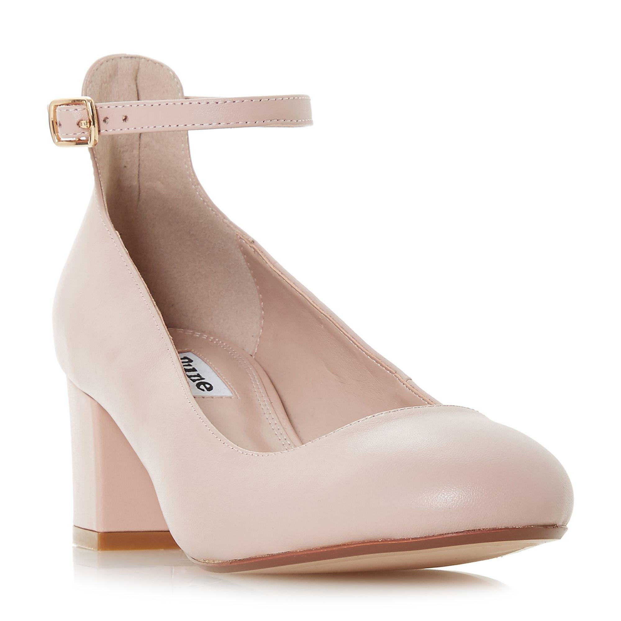 92b1120c31 Dune Light Pink Leather 'allie' Mid Block Heel Court Shoes in Pink ...