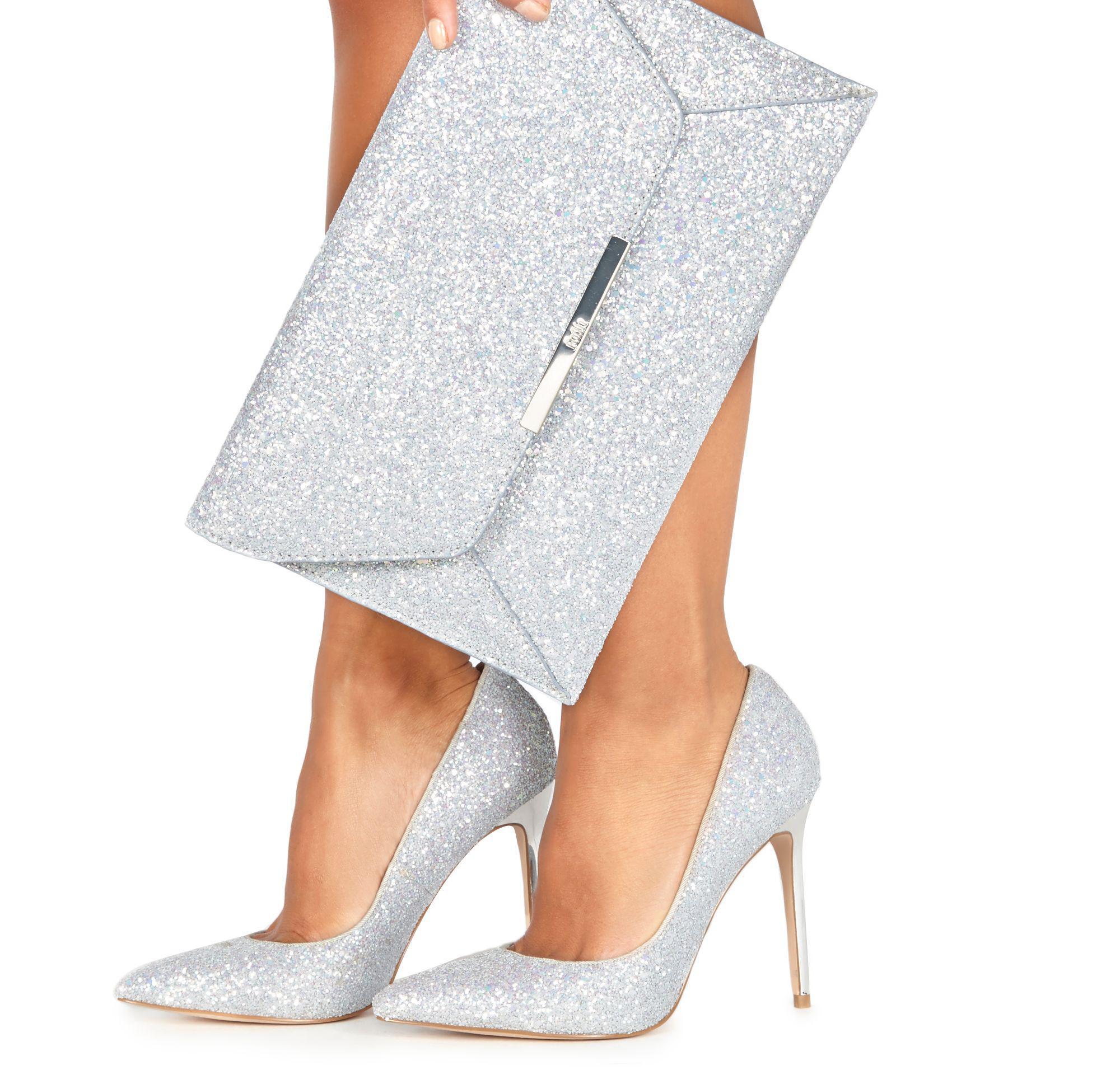 18dd2ab8f97 Faith Silver Glitter  chloe Party  High Stiletto Heel Pointed Shoes ...