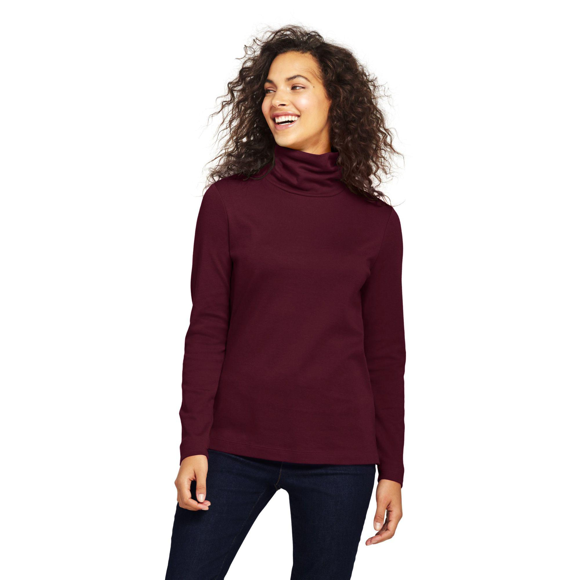 dcd5998766 Lands  End Red Tall Shaped Supima Long Sleeves Roll Neck in Red - Lyst
