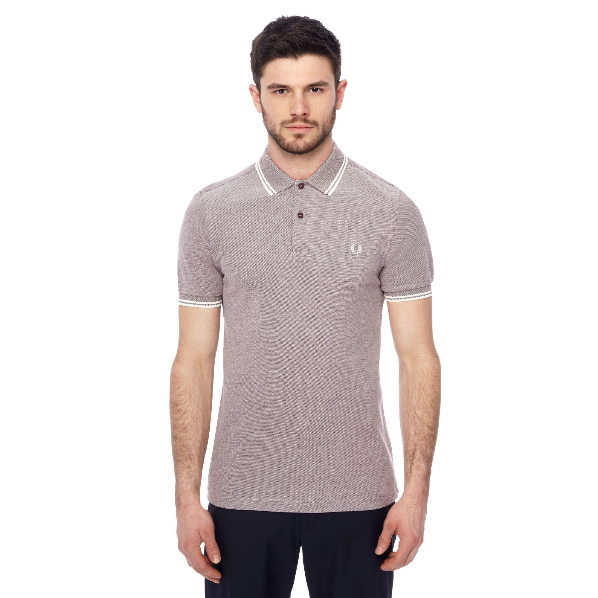 4f56ea8d Fred Perry Maroon Tipped Embroidered Logo Polo Shirt in Purple for ...