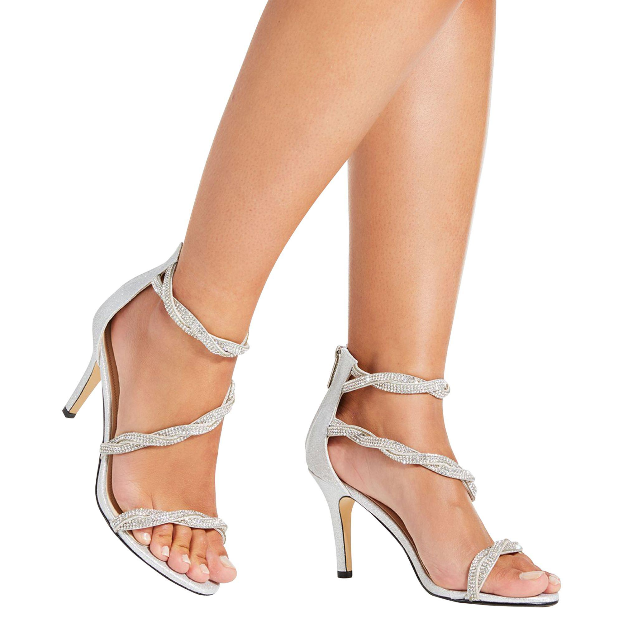 ac5586fa5954 Quiz - Metallic Silver Diamante Twist Sandals - Lyst. View fullscreen