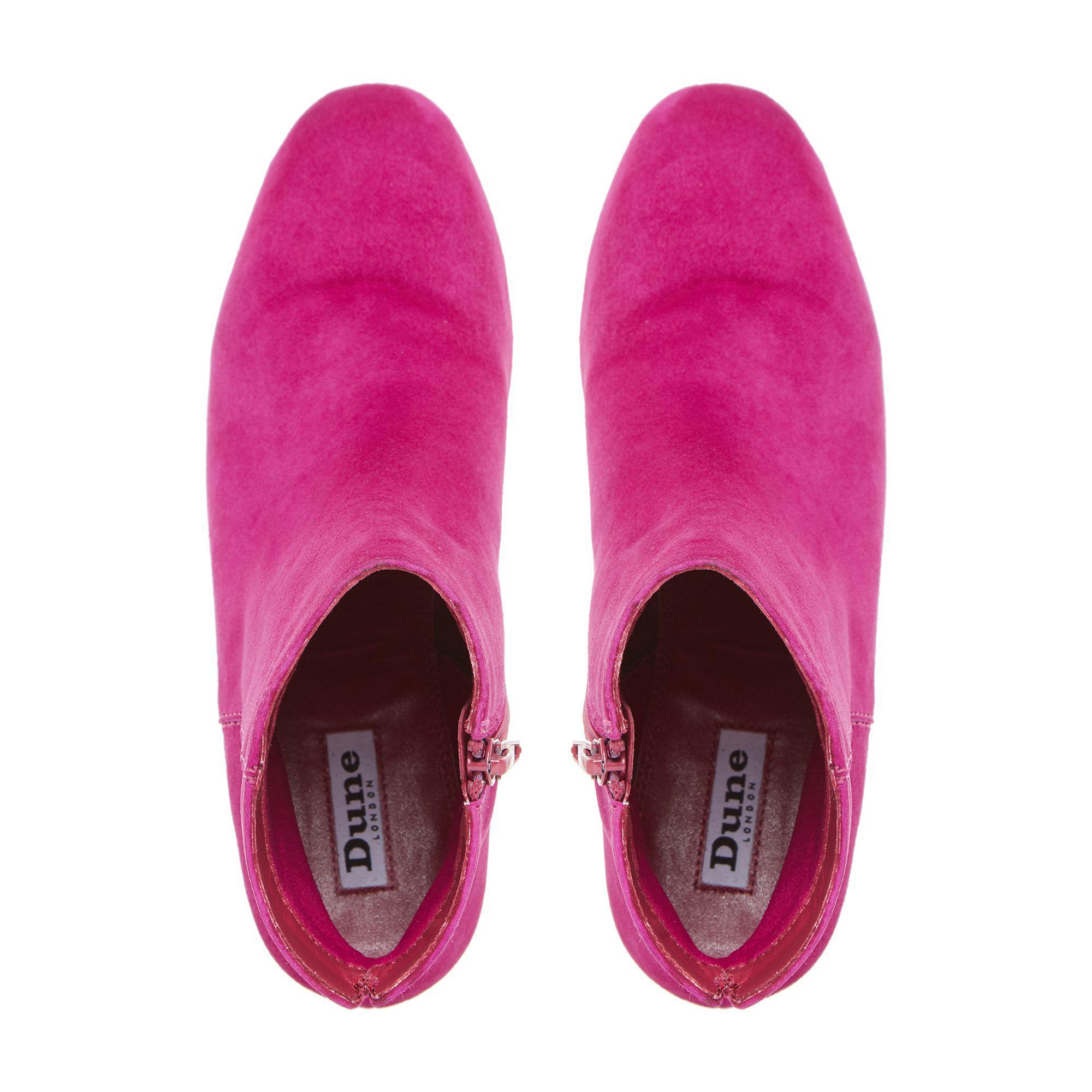 6ef267bcf34 Dune Pink  olyvea  Mid Block Heel Ankle Boots in Pink - Save 14% - Lyst