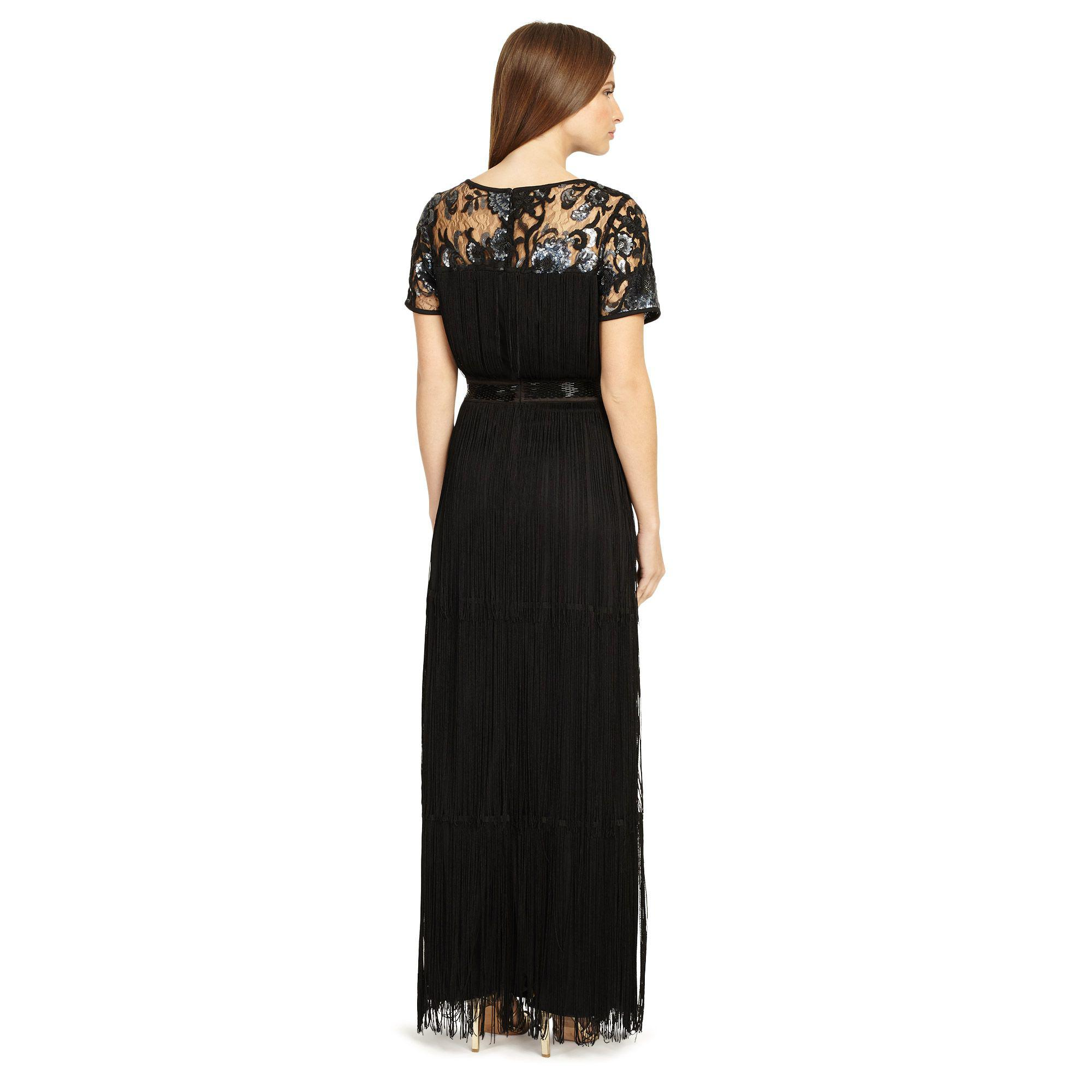 79d86cc86b Phase Eight - Black Malene Fringe Full Length Dress - Lyst. View fullscreen